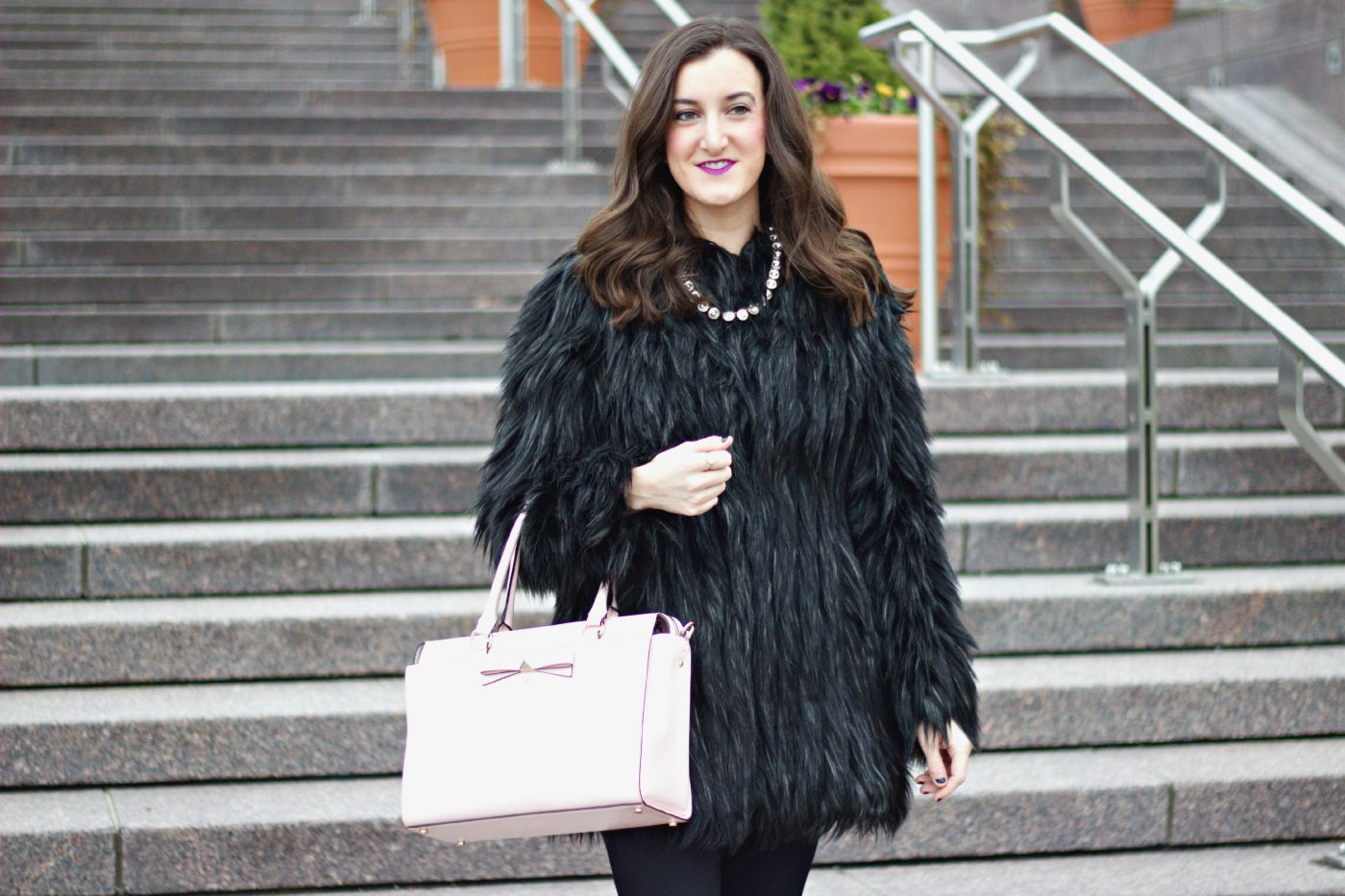 Black Faux Fur Winter Coat