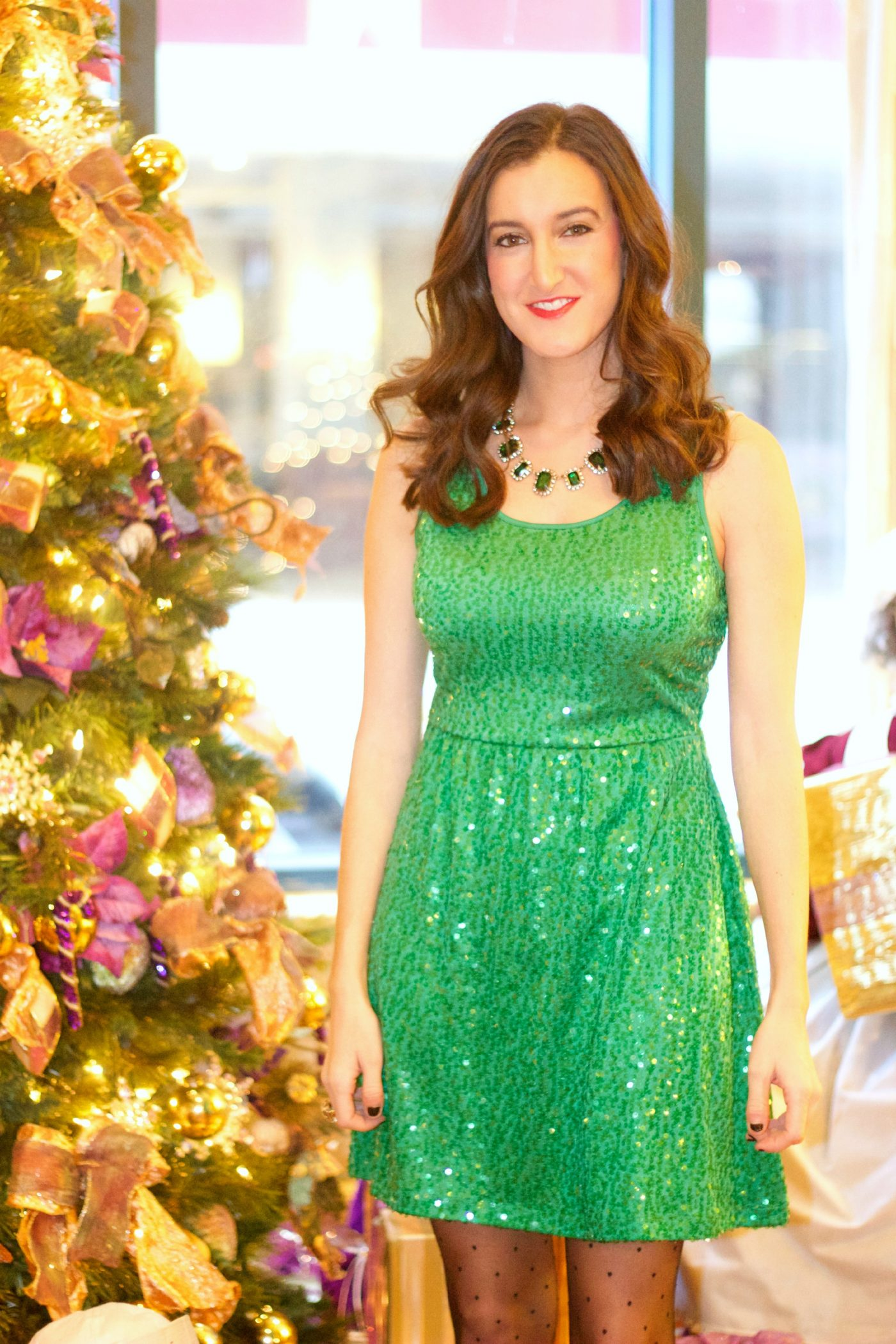 Holiday Green Sequin Dress