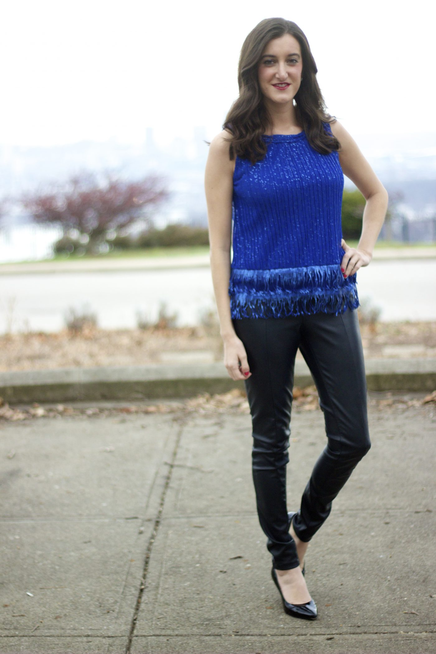 Blue Sequin Top with Leather Pants