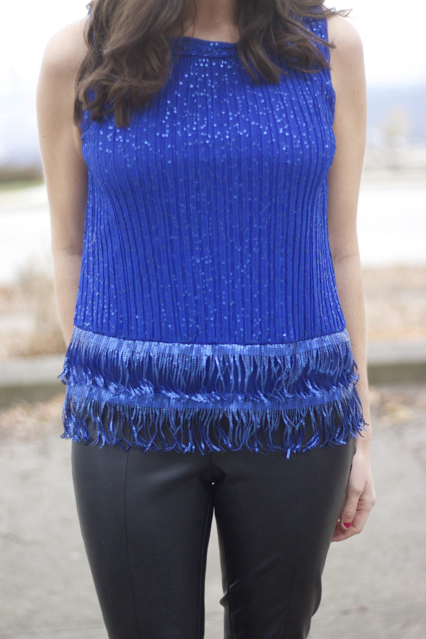 Blue Sequin Fringe Top