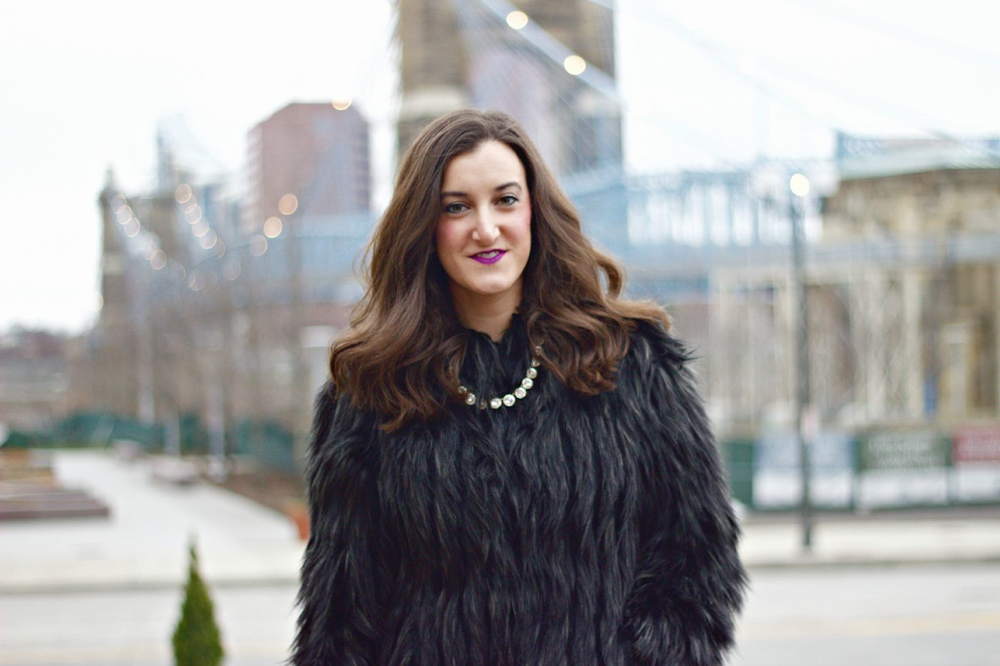 J.Crew Necklace Faux Fur Black Coat