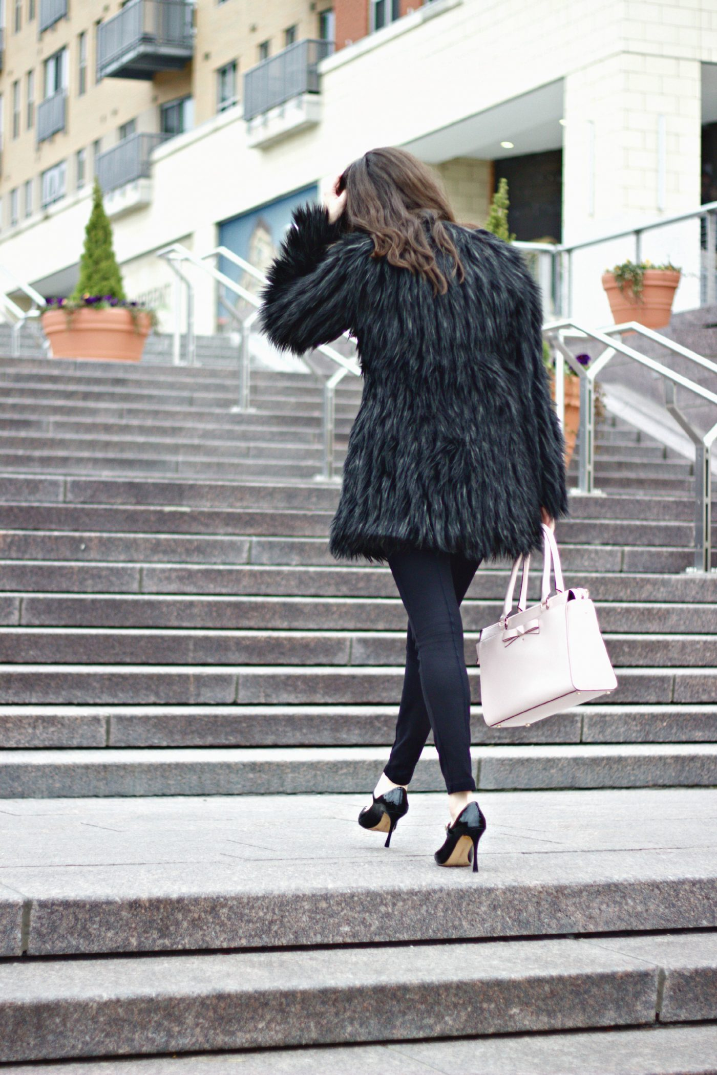 Kate Spade Purse Faux Fur Coat