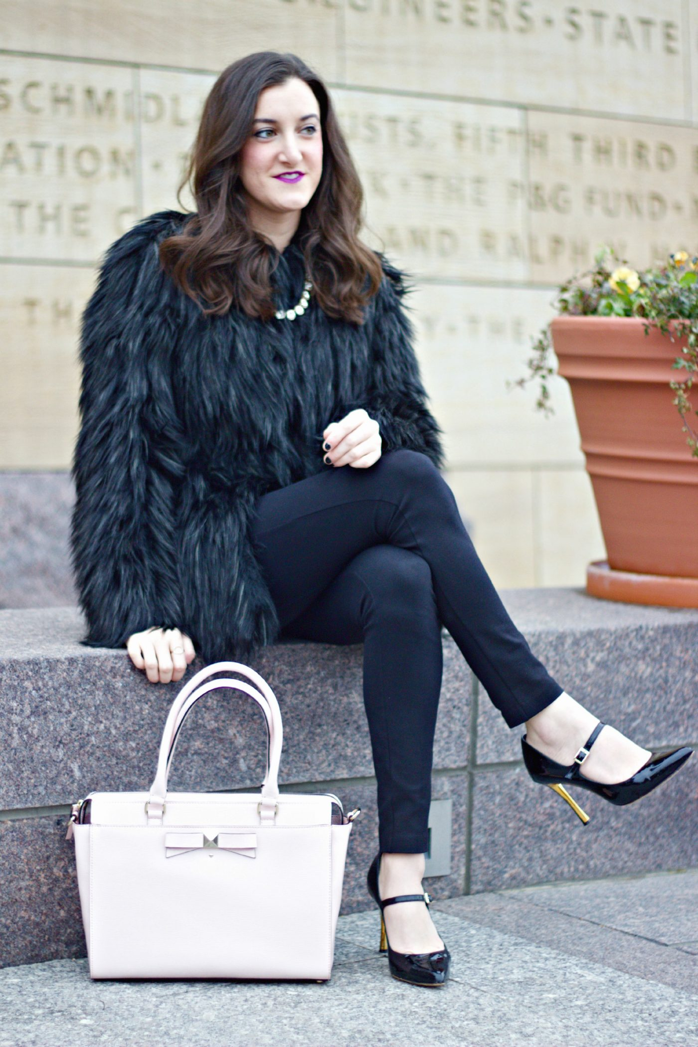 Urbancode Asos Faux Fur Coat Kate Spade Purse