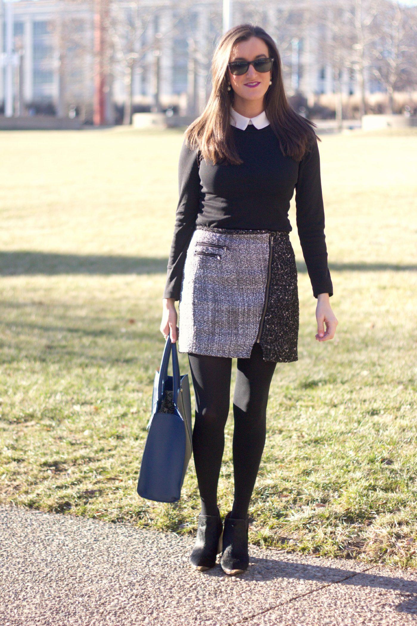Black and White Tweed Mini Skirt