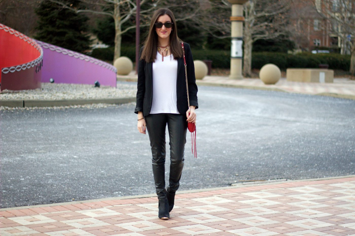 Leather Pants with White Shirt