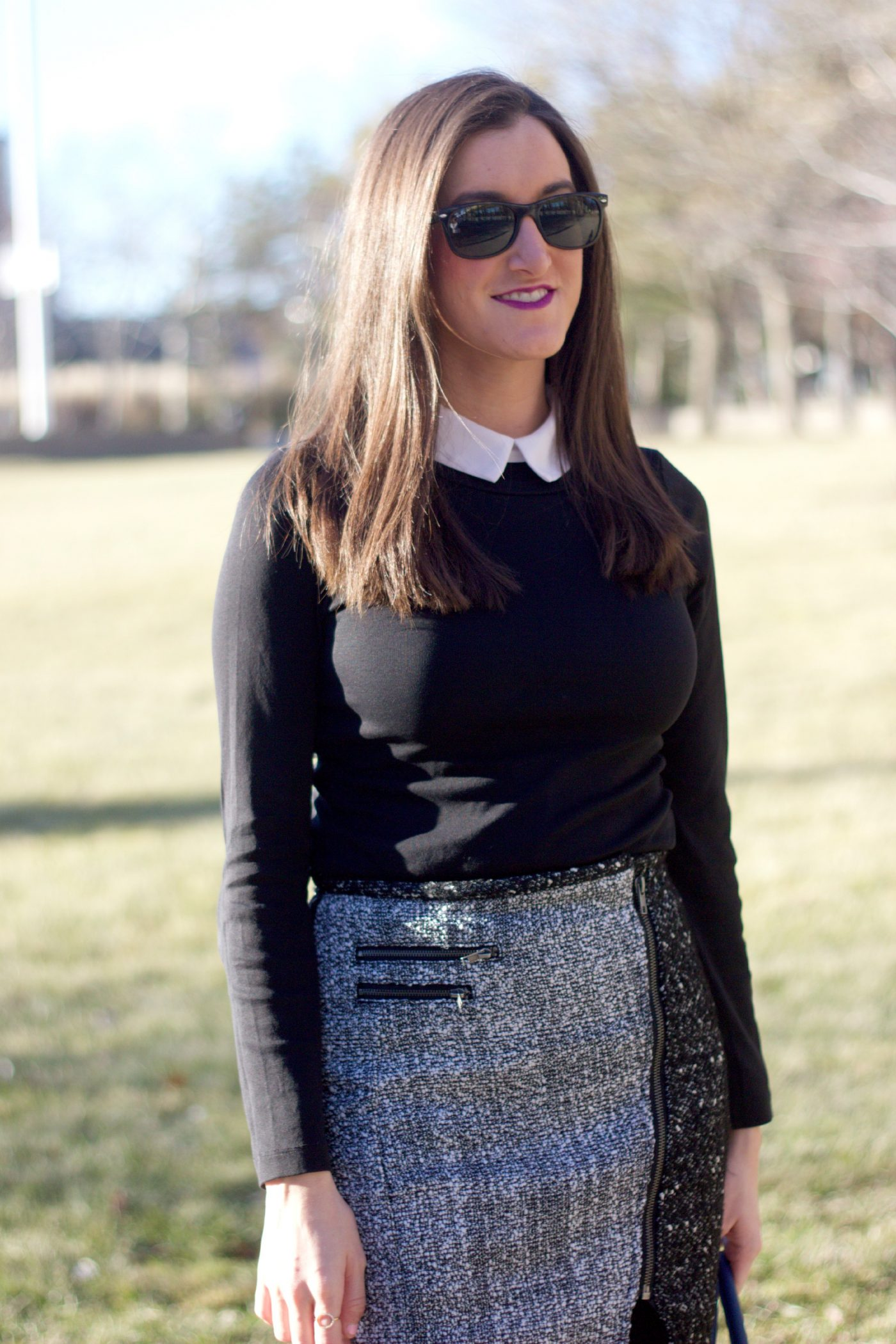 Tweed Mini Skirt with Collared Shirt