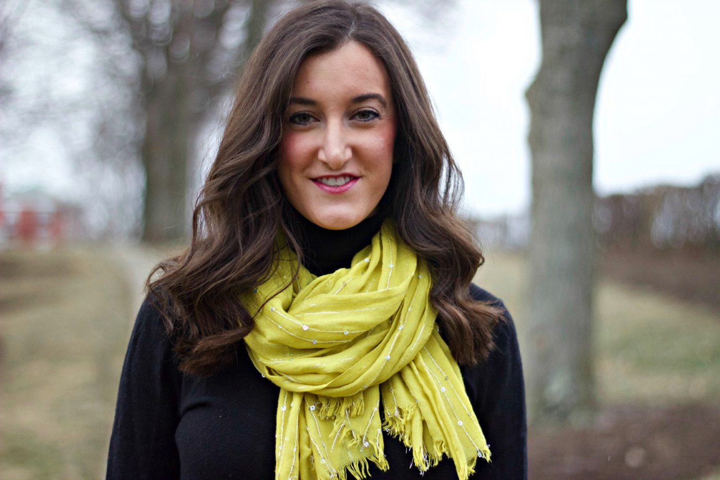 Yellow Scarf with Sequins