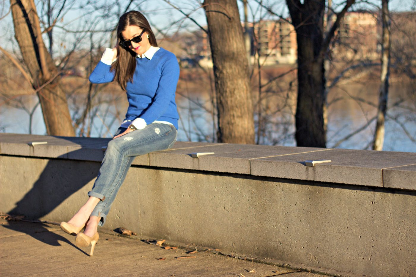 Cobalt Crewneck Sweater with Skinny Jeans