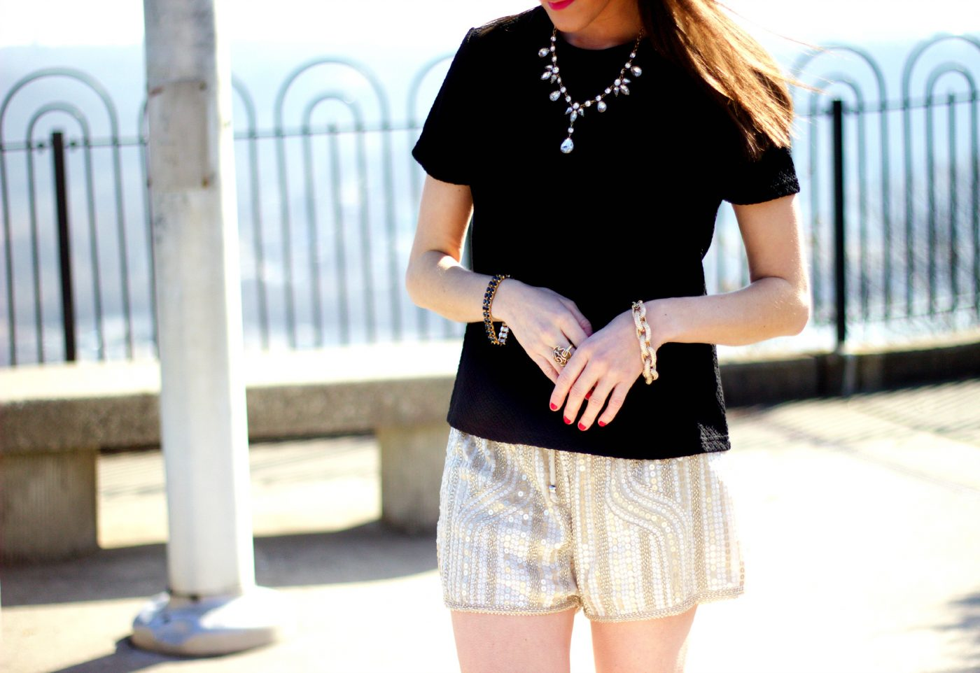 Dressy Gold Sequin Shorts