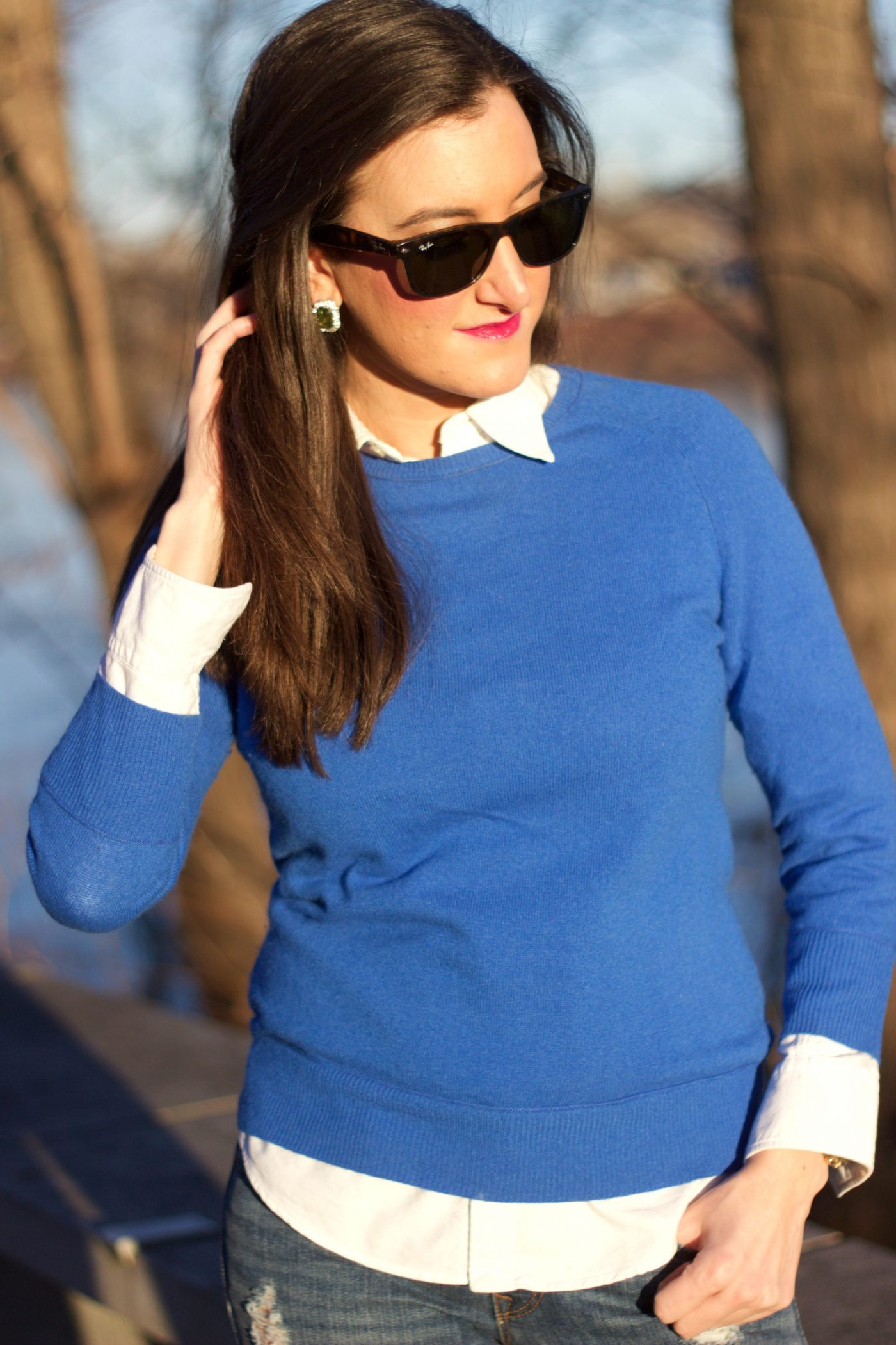How To Layer a Blouse and Sweater
