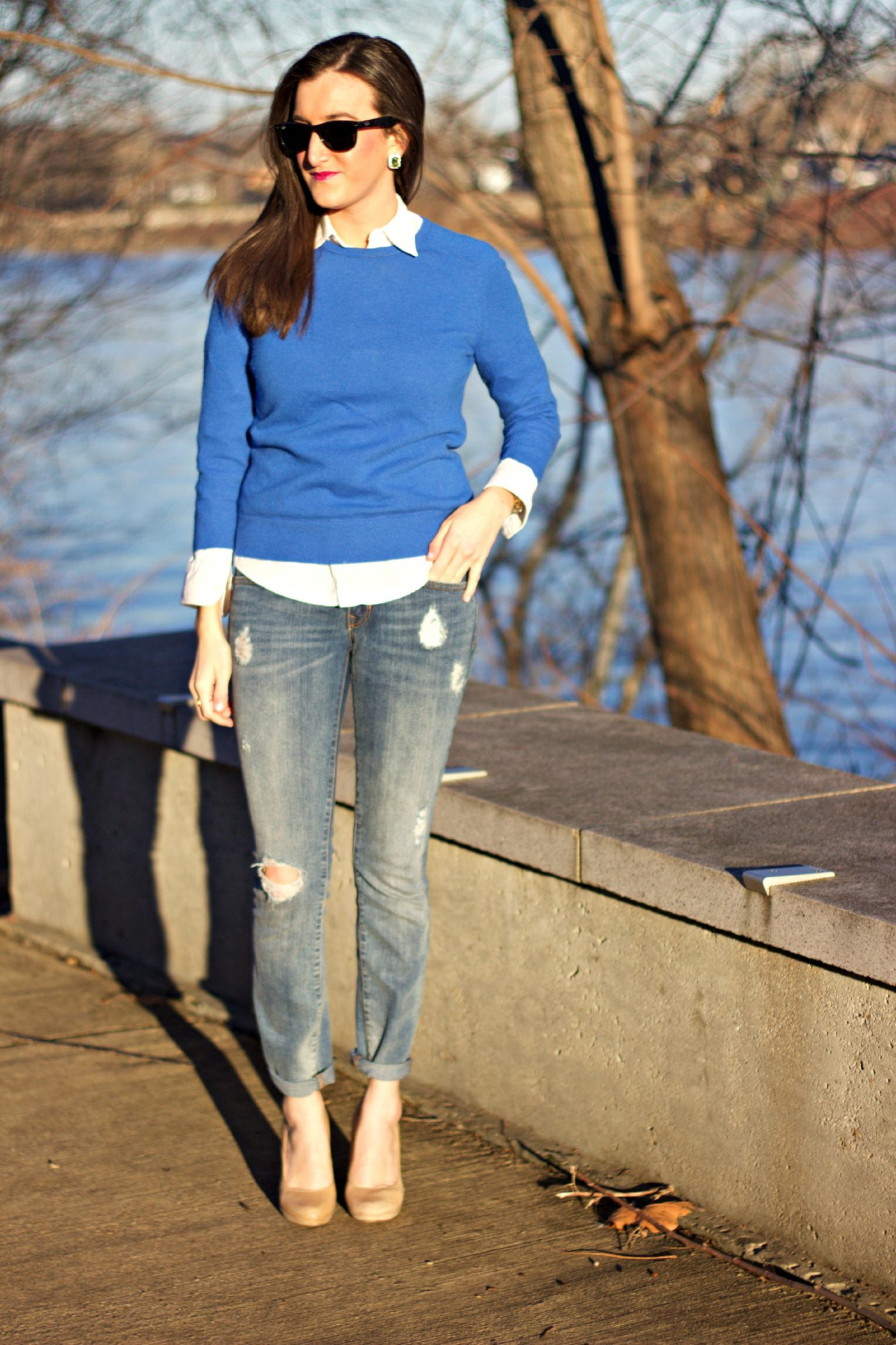 Layered Crewneck Sweater with White Blouse