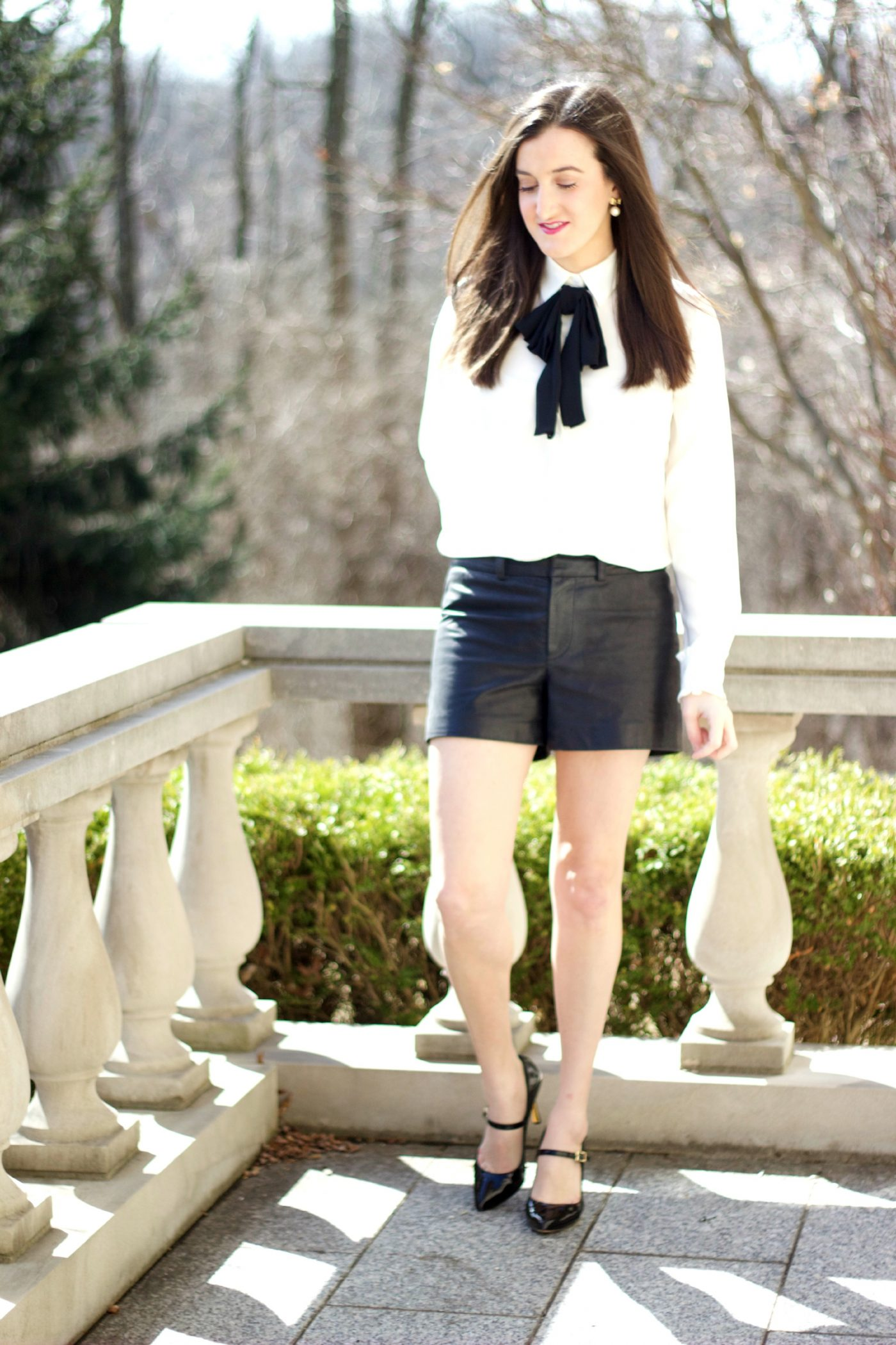 Bow Blouse with Leather Shorts