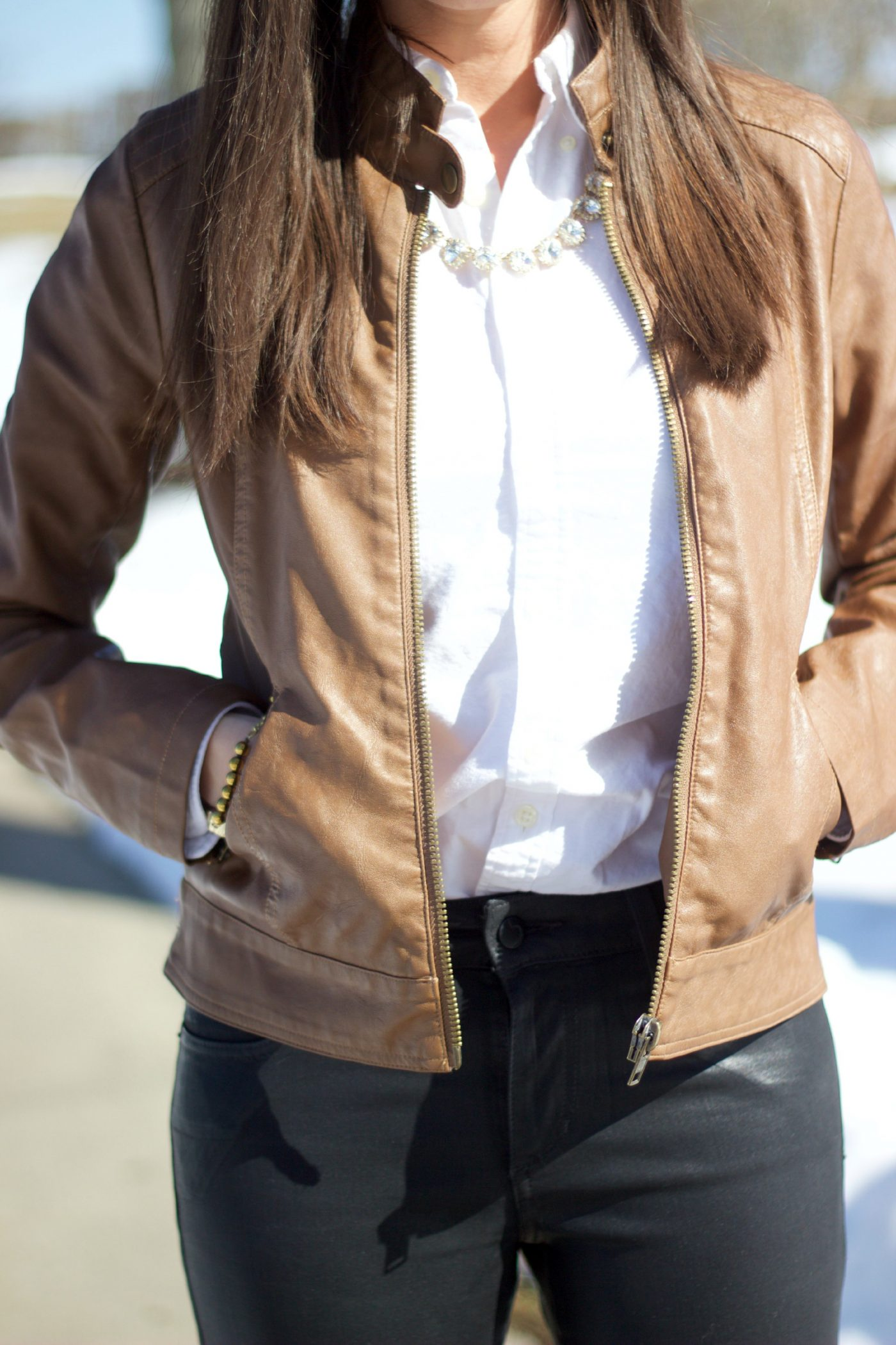 Brown Leather Moto Jacket