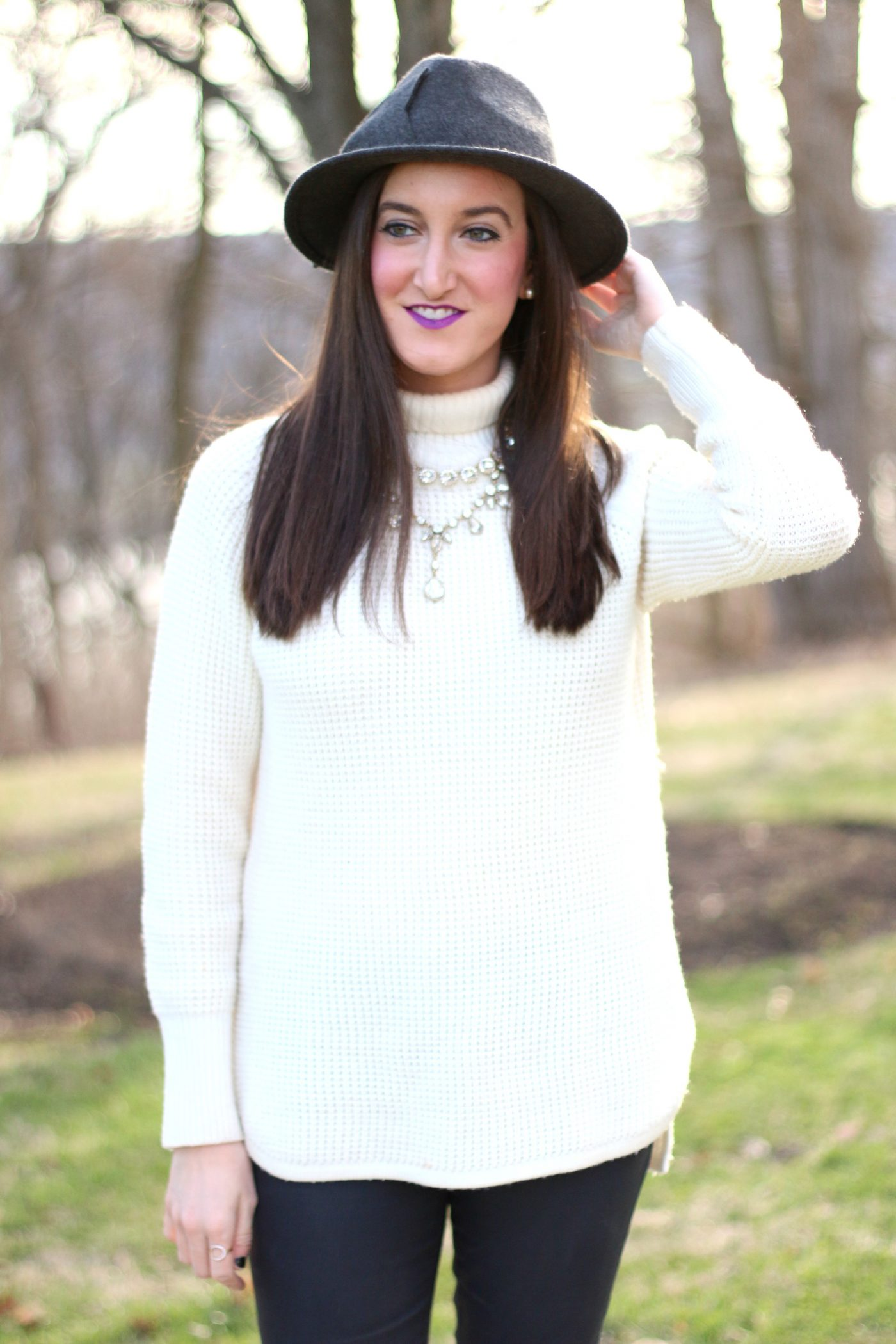 Chunky Sweater + Layered Necklaces