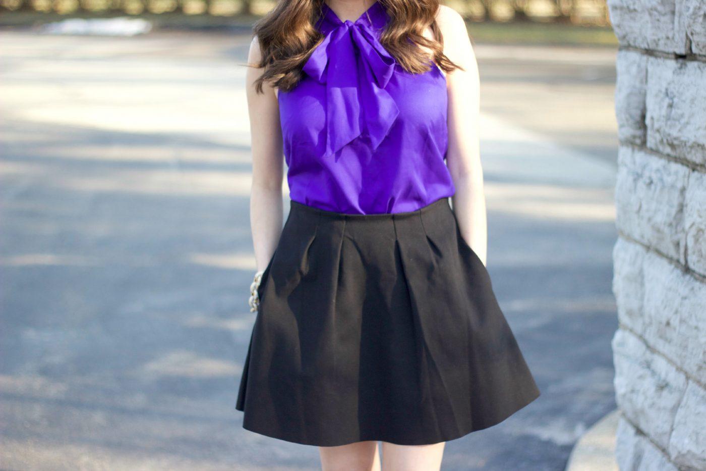 Madewell Pleated Black Mini Skirt