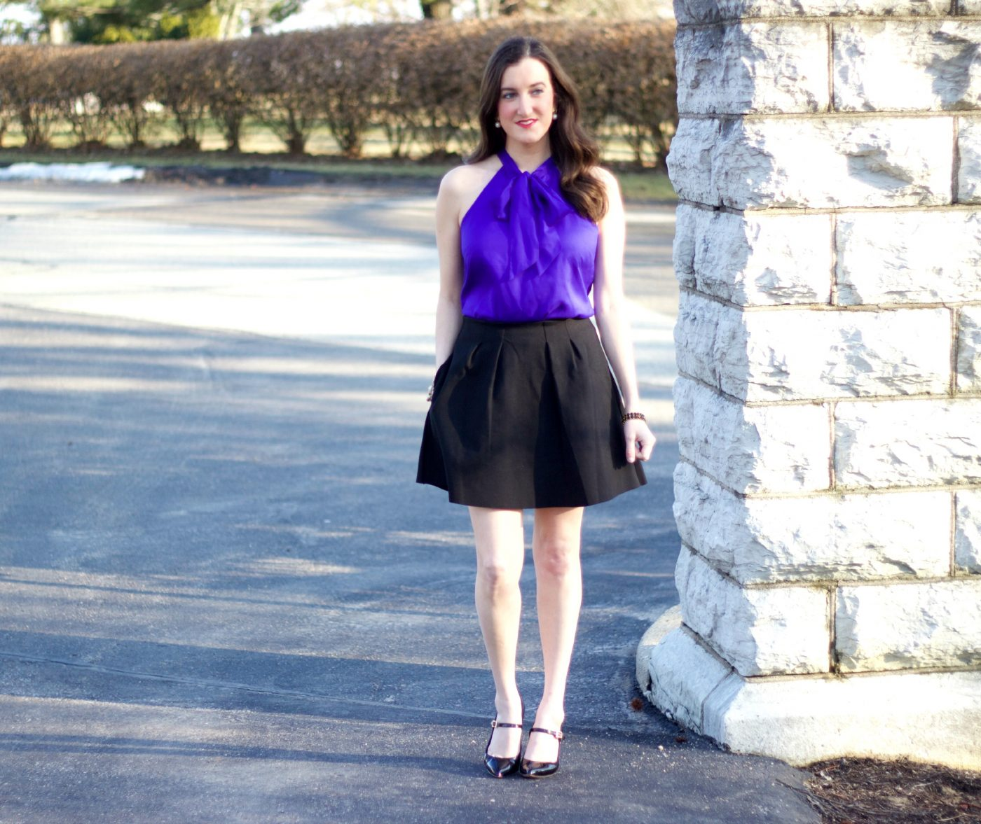 Pleated Skirt with Bow Tie Blouse