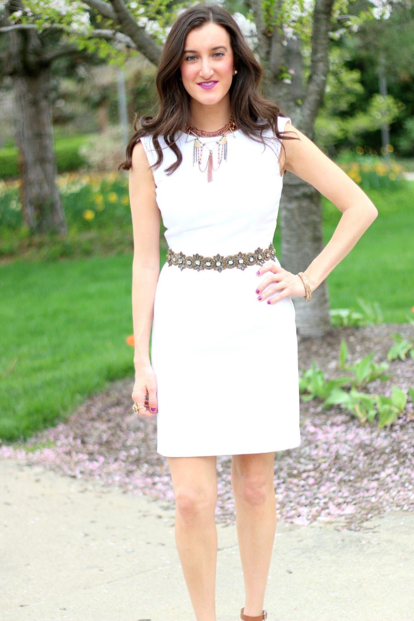 White Dress with Deepa Gurnani Belt