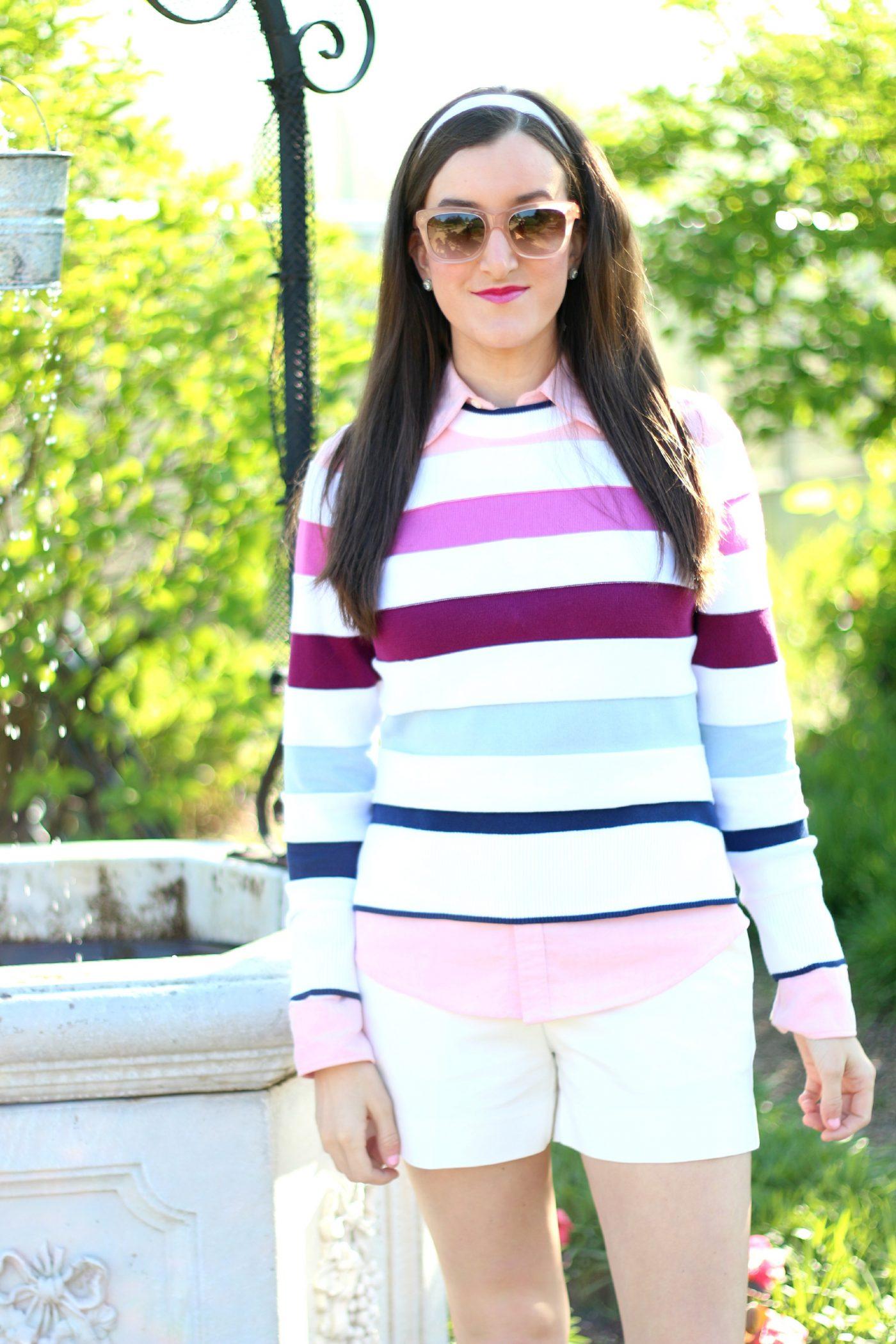 Brooks Brothers Striped Womens Crewneck Sweater