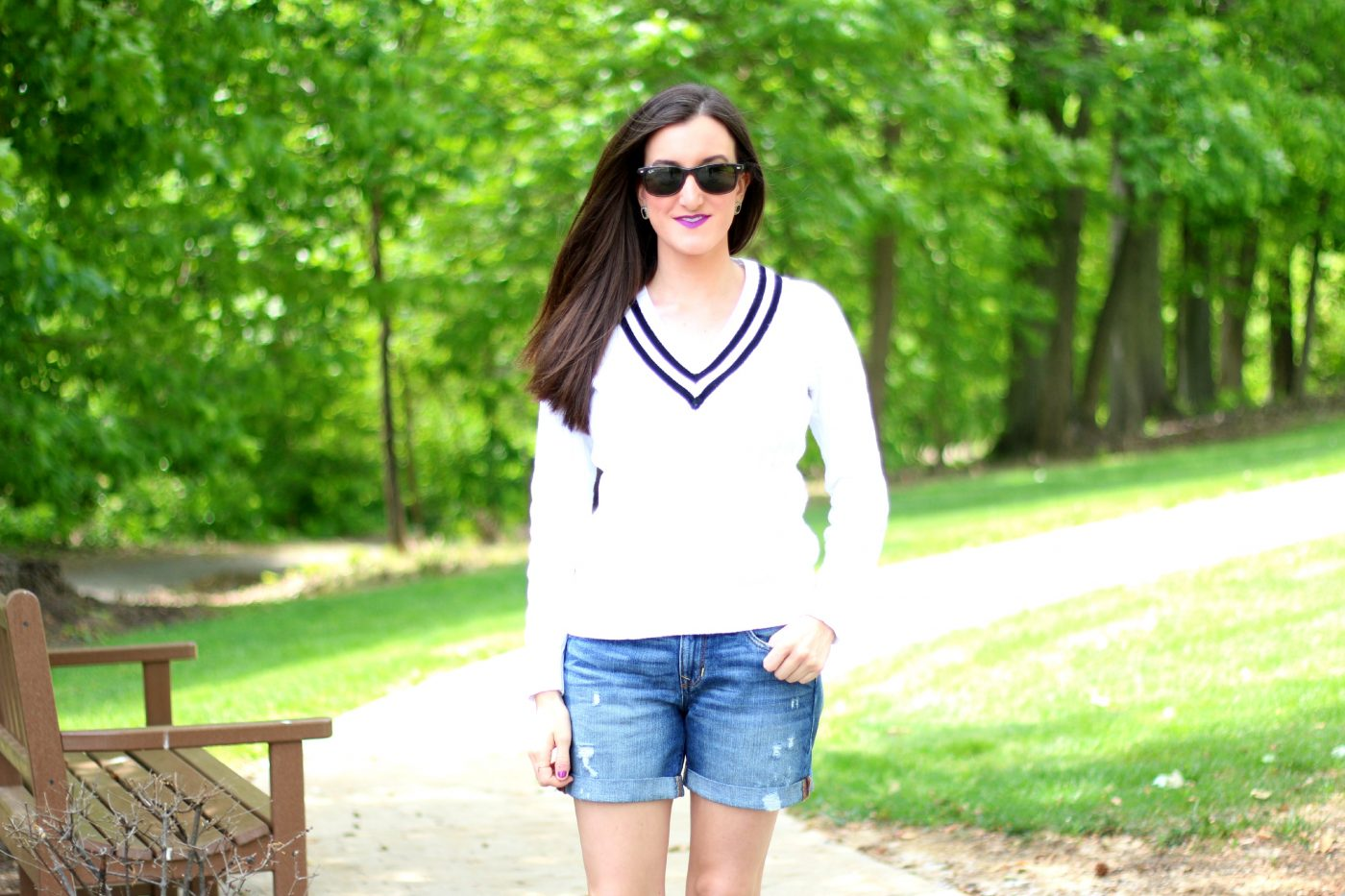 Cable Knit Sweater with Denim Shorts