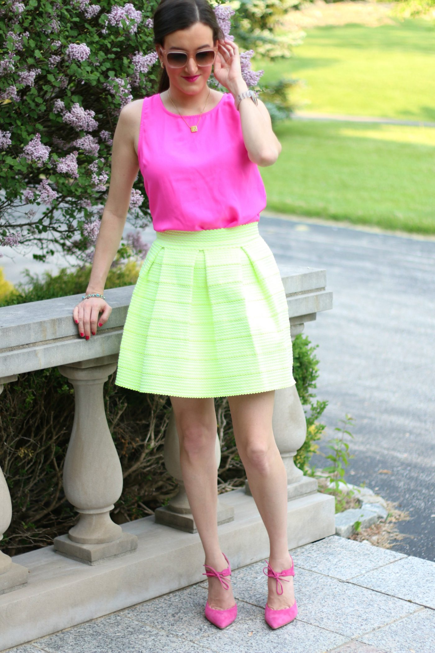 Lime Green Skirt with Hot Pink Top
