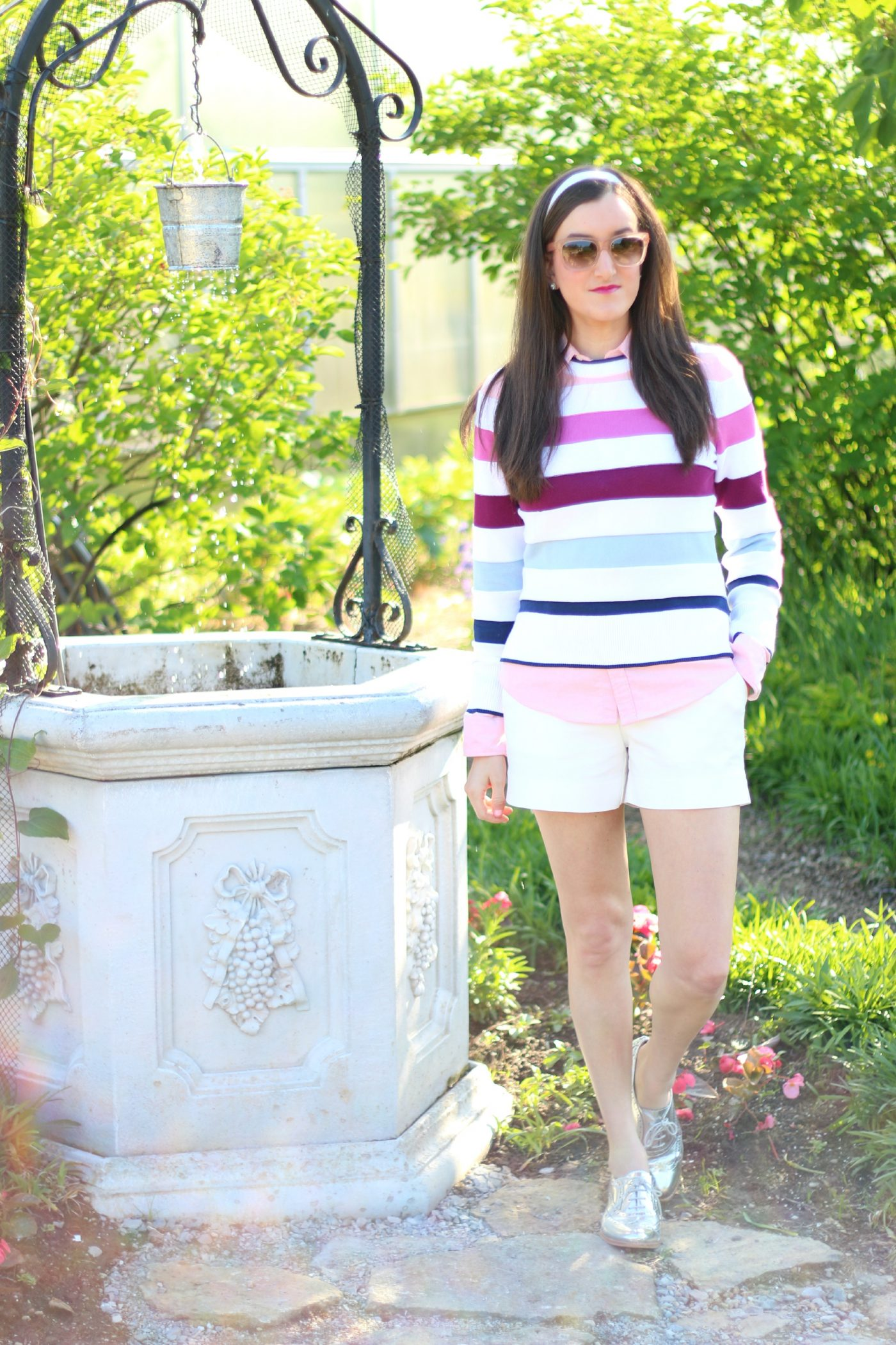 Brooks Brothers Pink and Blue Striped Sweater