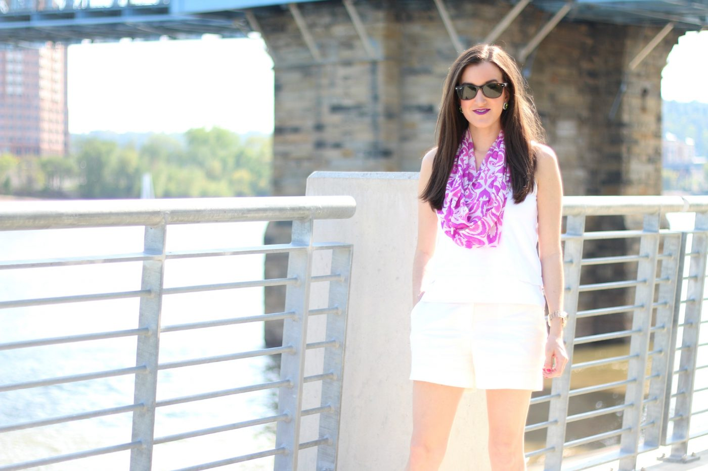 White Outfit with Pink Scarf