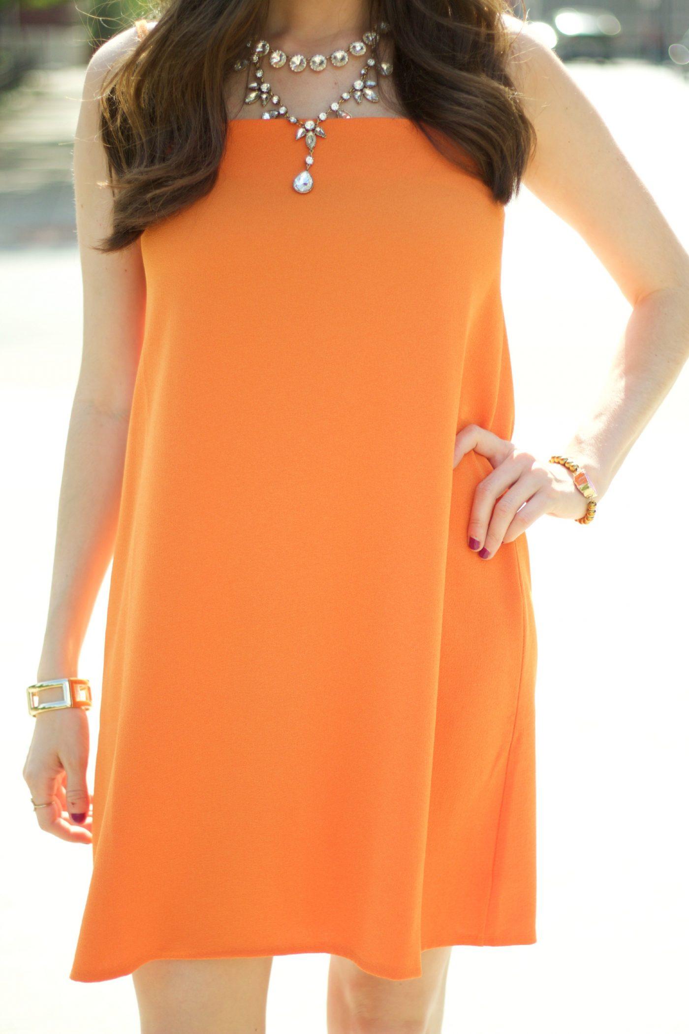 Gold Jewelry Orange Dress