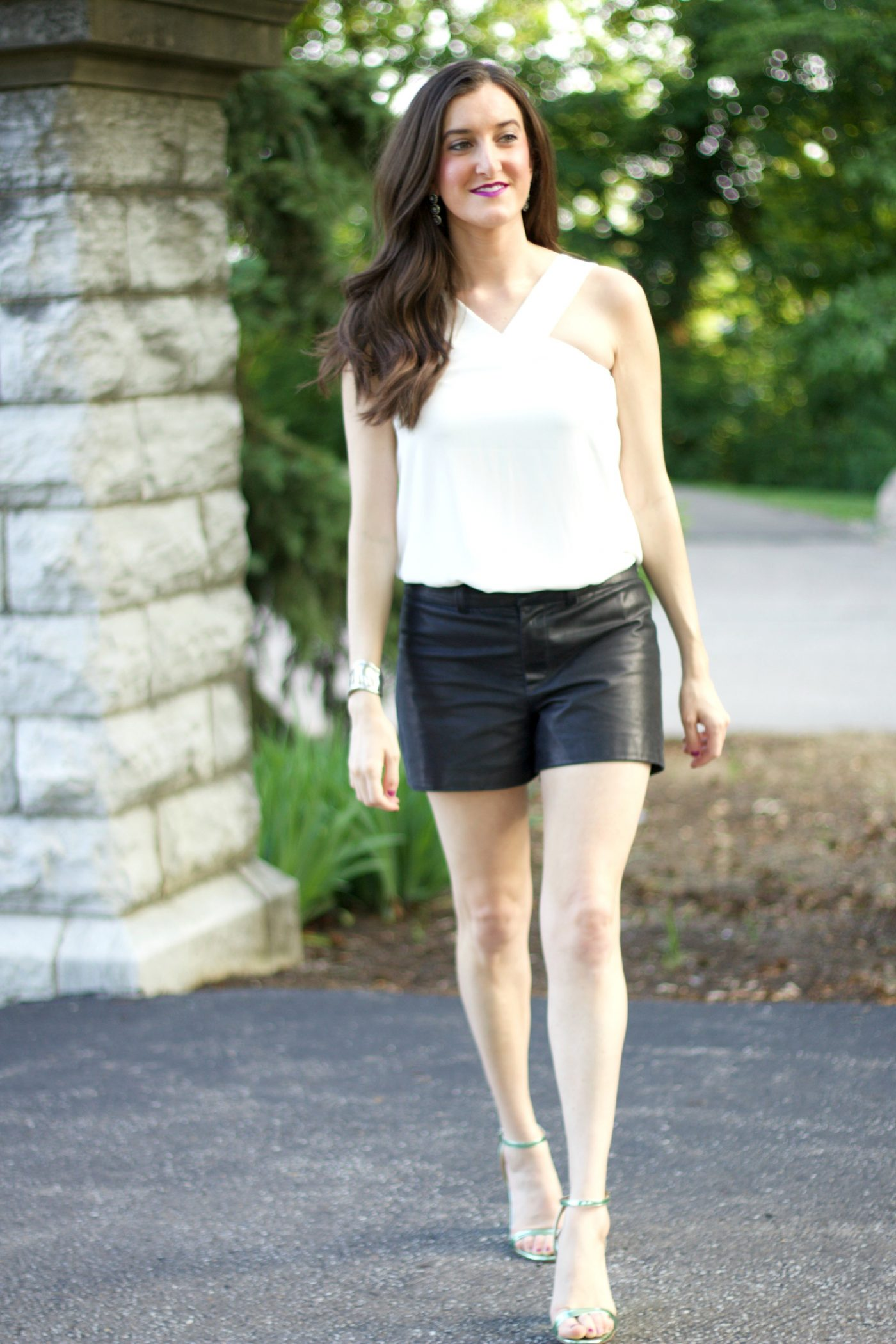 Leather Shorts with White Top