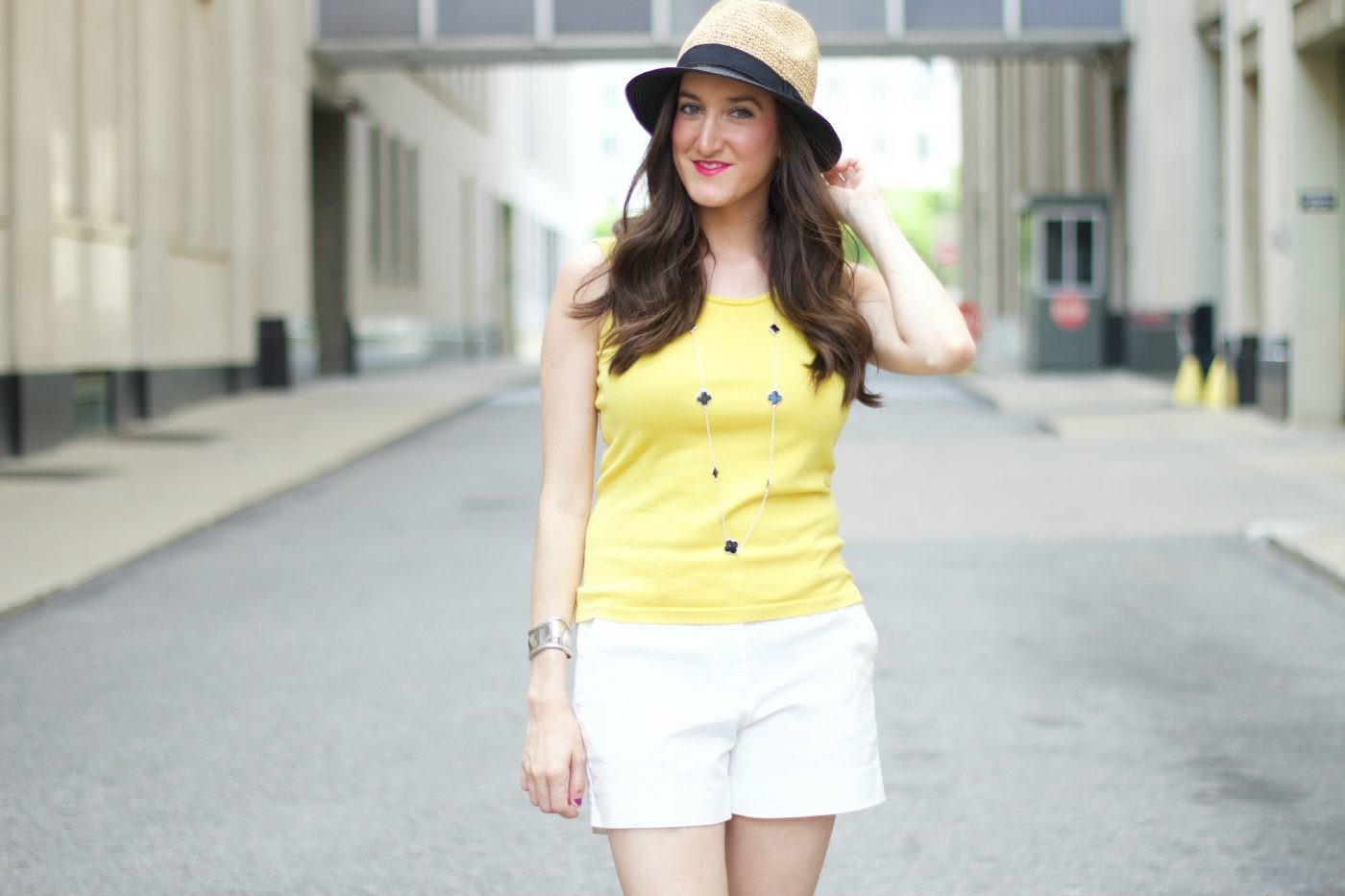 Yellow Top with White Shorts