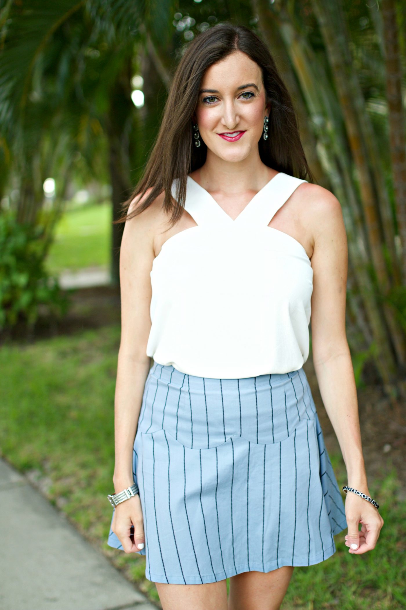 Blue Pinstripe Skirt with White Top