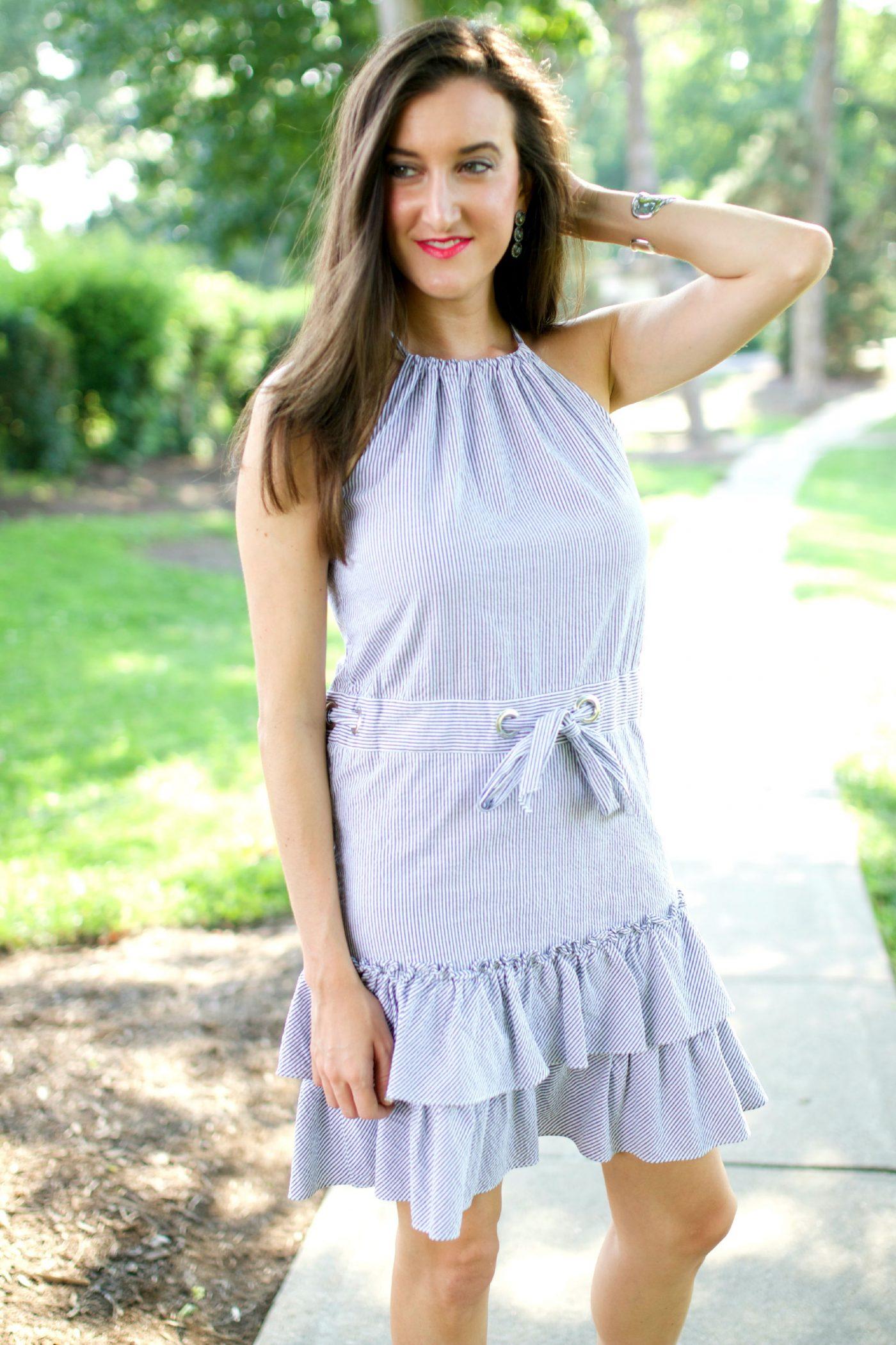 Ruffled Seersucker Dress Cynthia Steffe