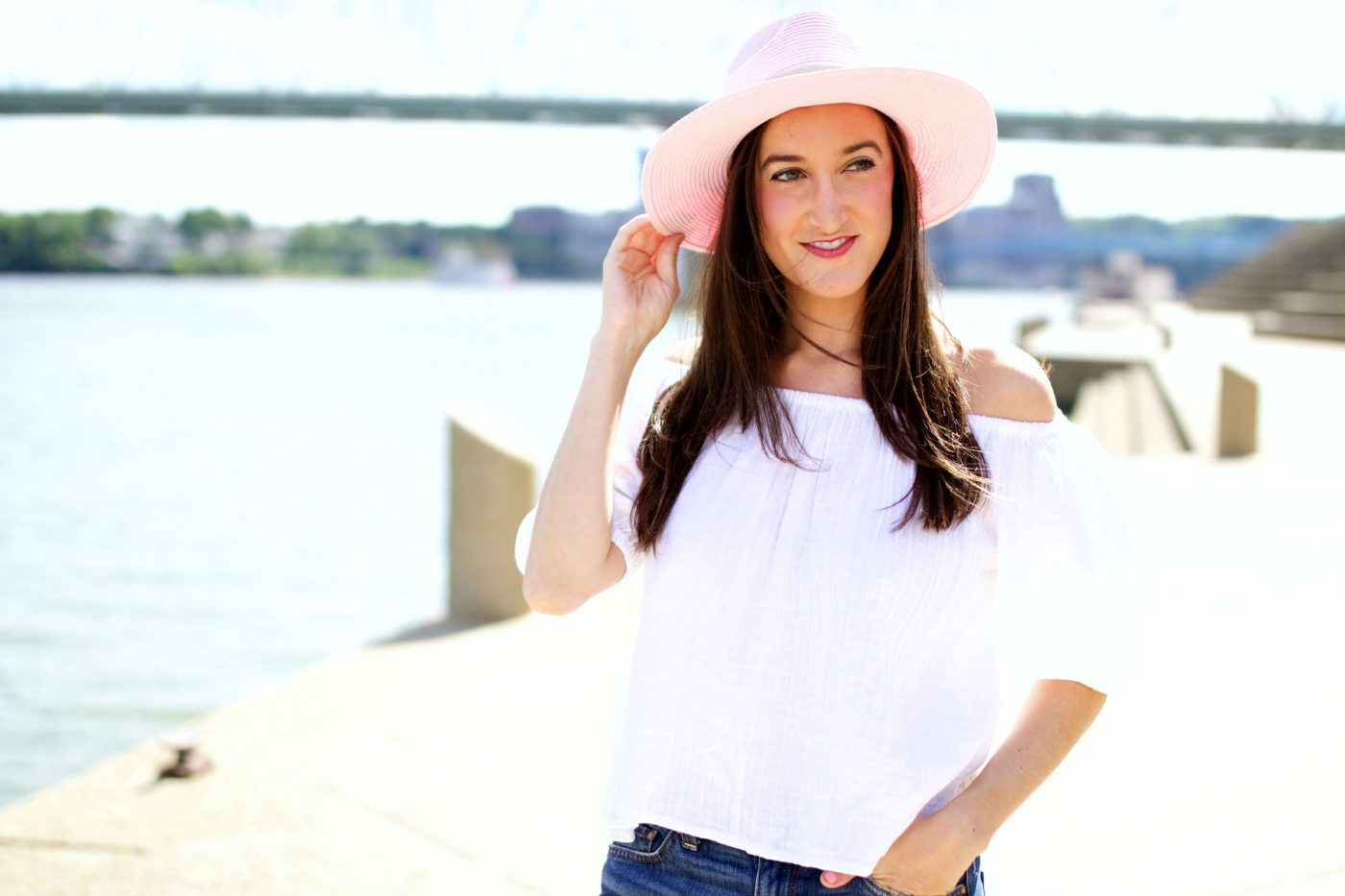 Pink Anthropologie Hat with Off the Shoulder Top