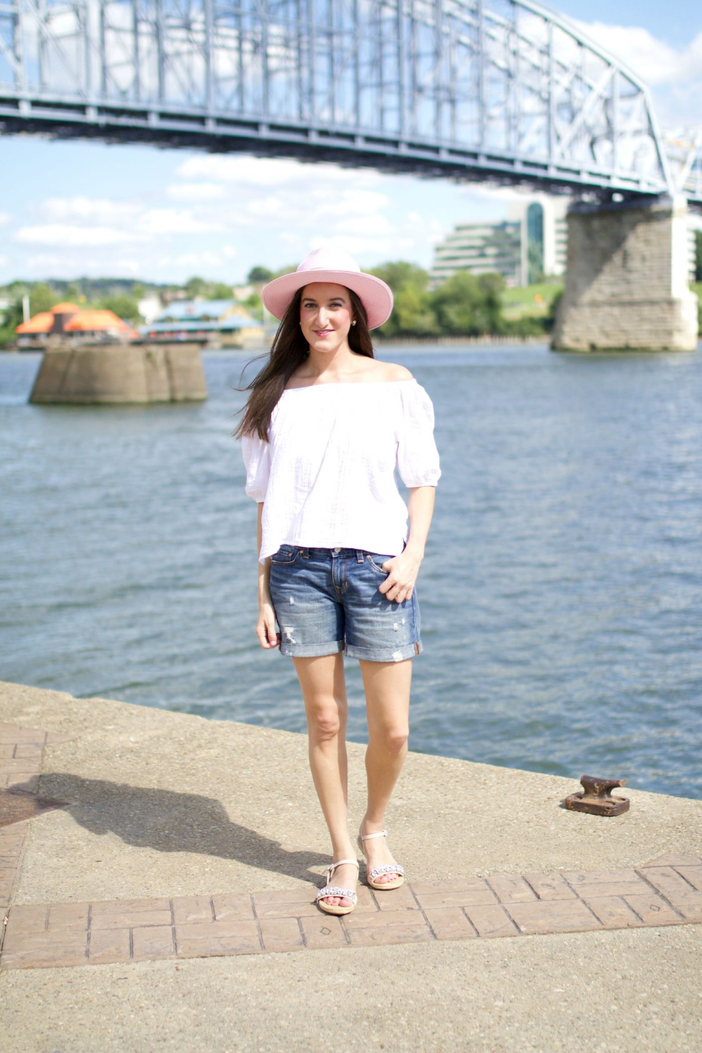 Denim Shorts with Off the Shoulder Top