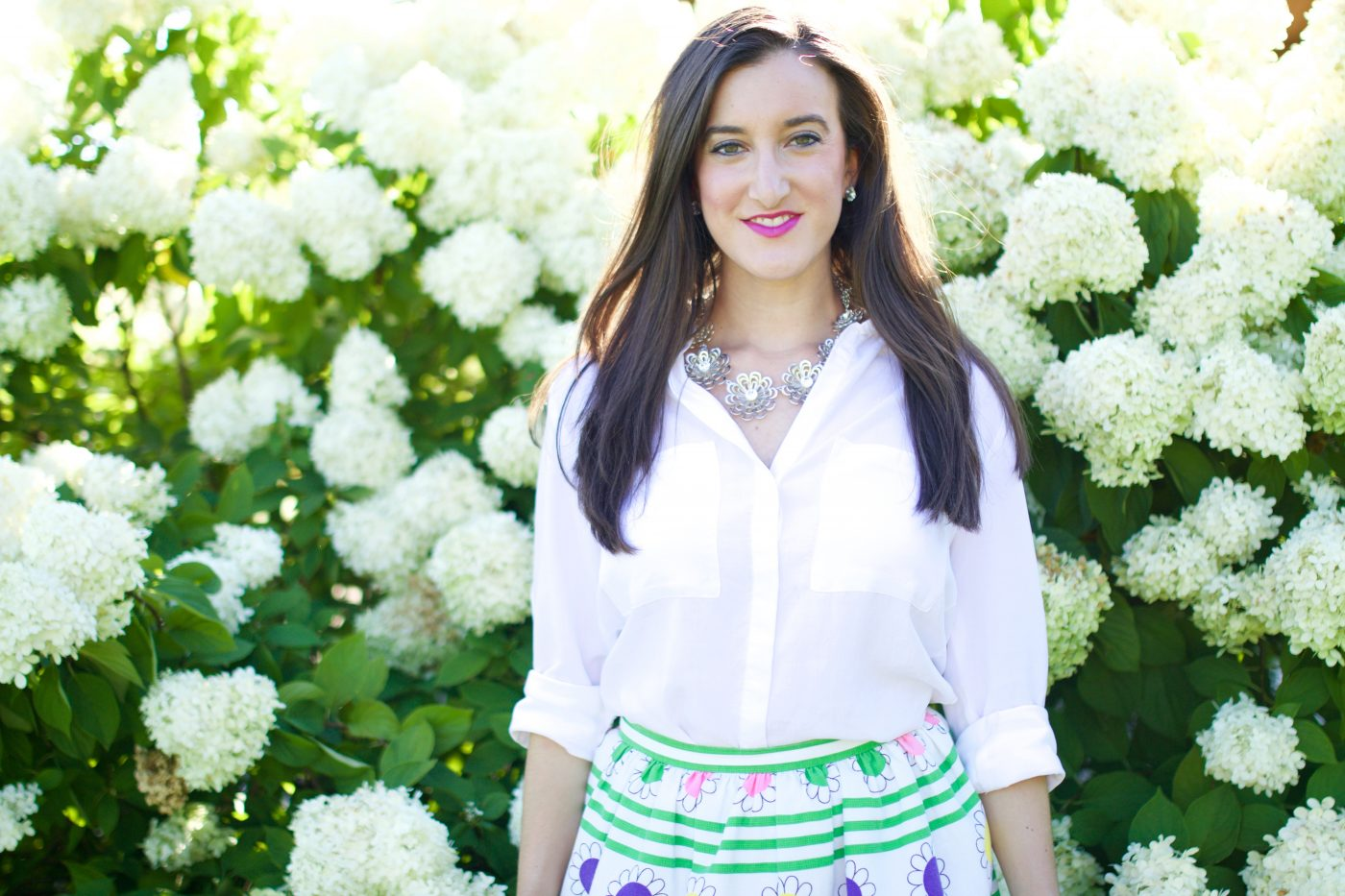 White Blouse with Vintage Skirt