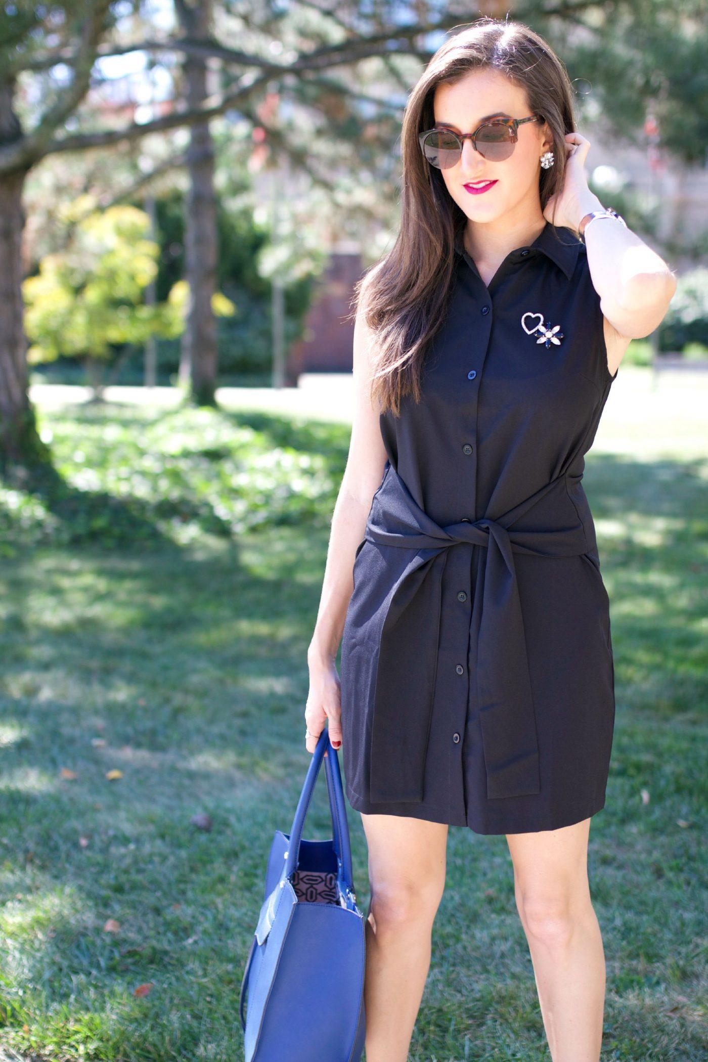 Black Sleeveless Collared Dress