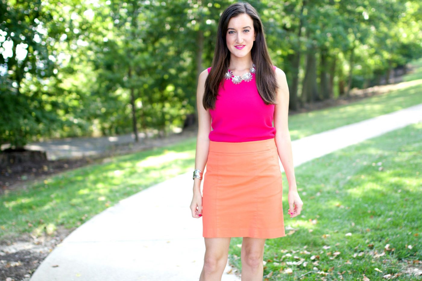 Colorblocked orange and pink outfit