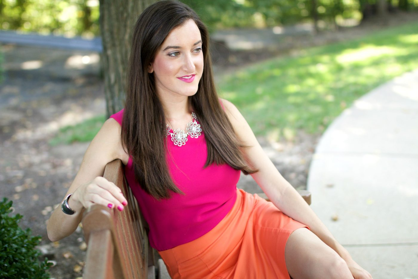 Pink and Orange Color Blocked Outfit