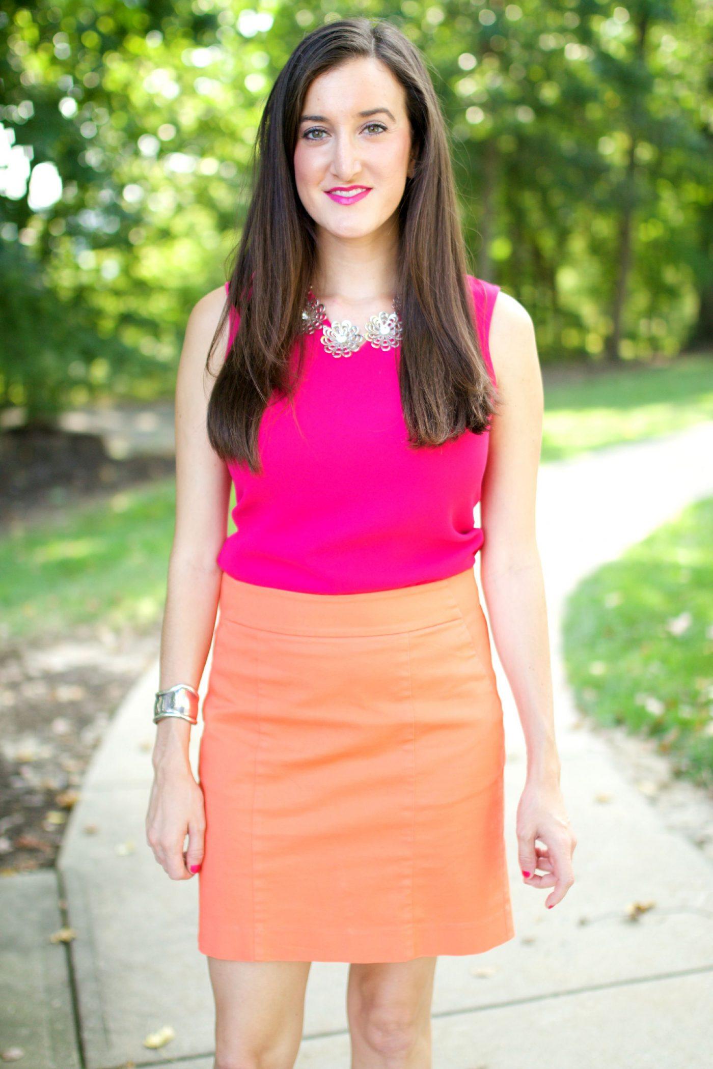 Orange Skirt with Pink Top