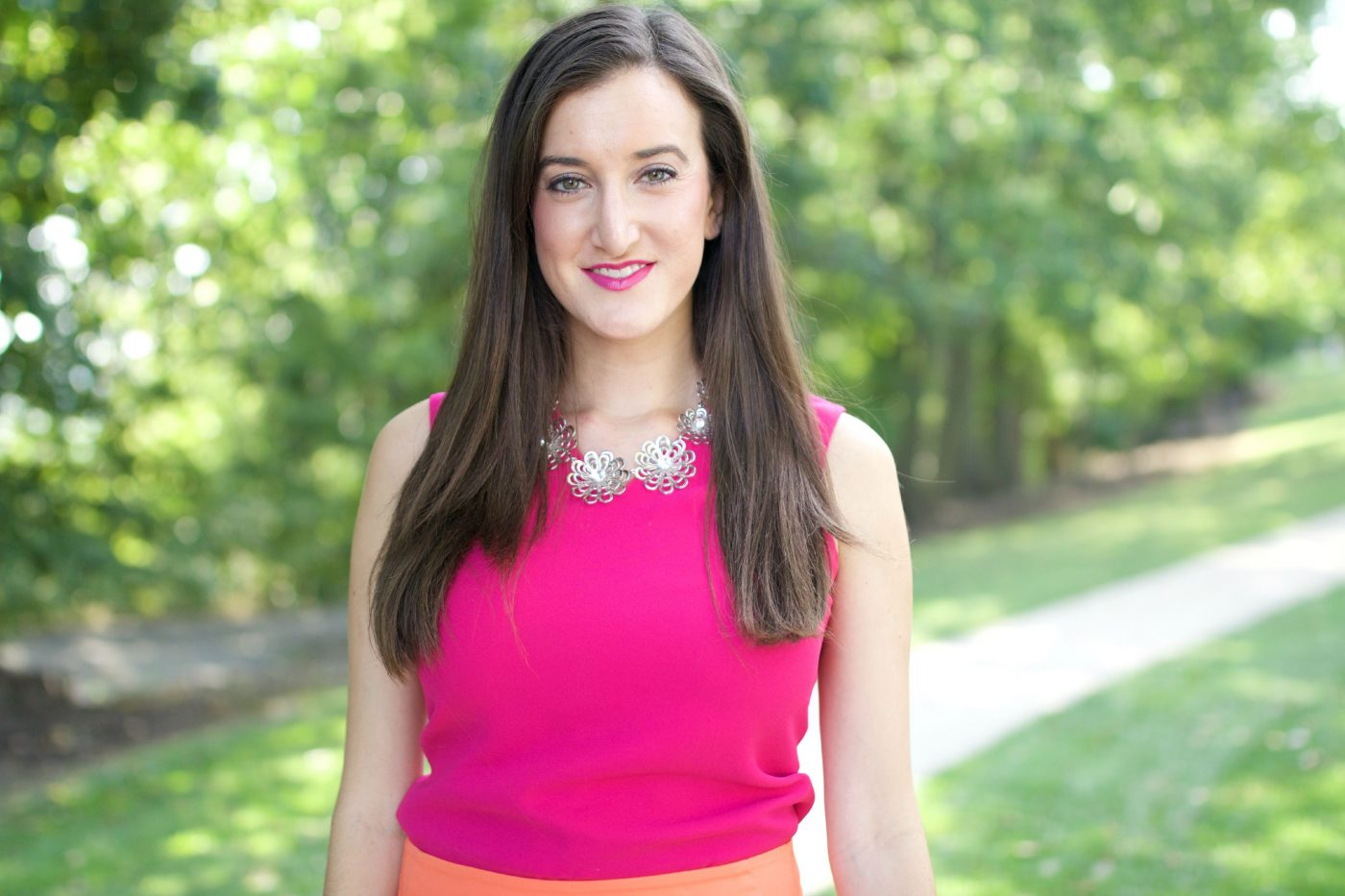 Pink Top with Kate Spade Necklace