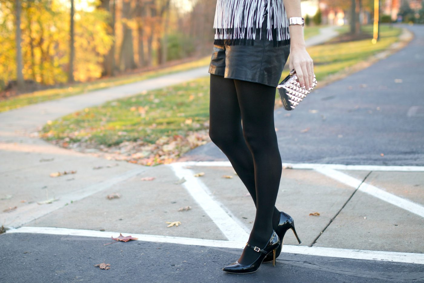 Leather Shorts with Black Tights
