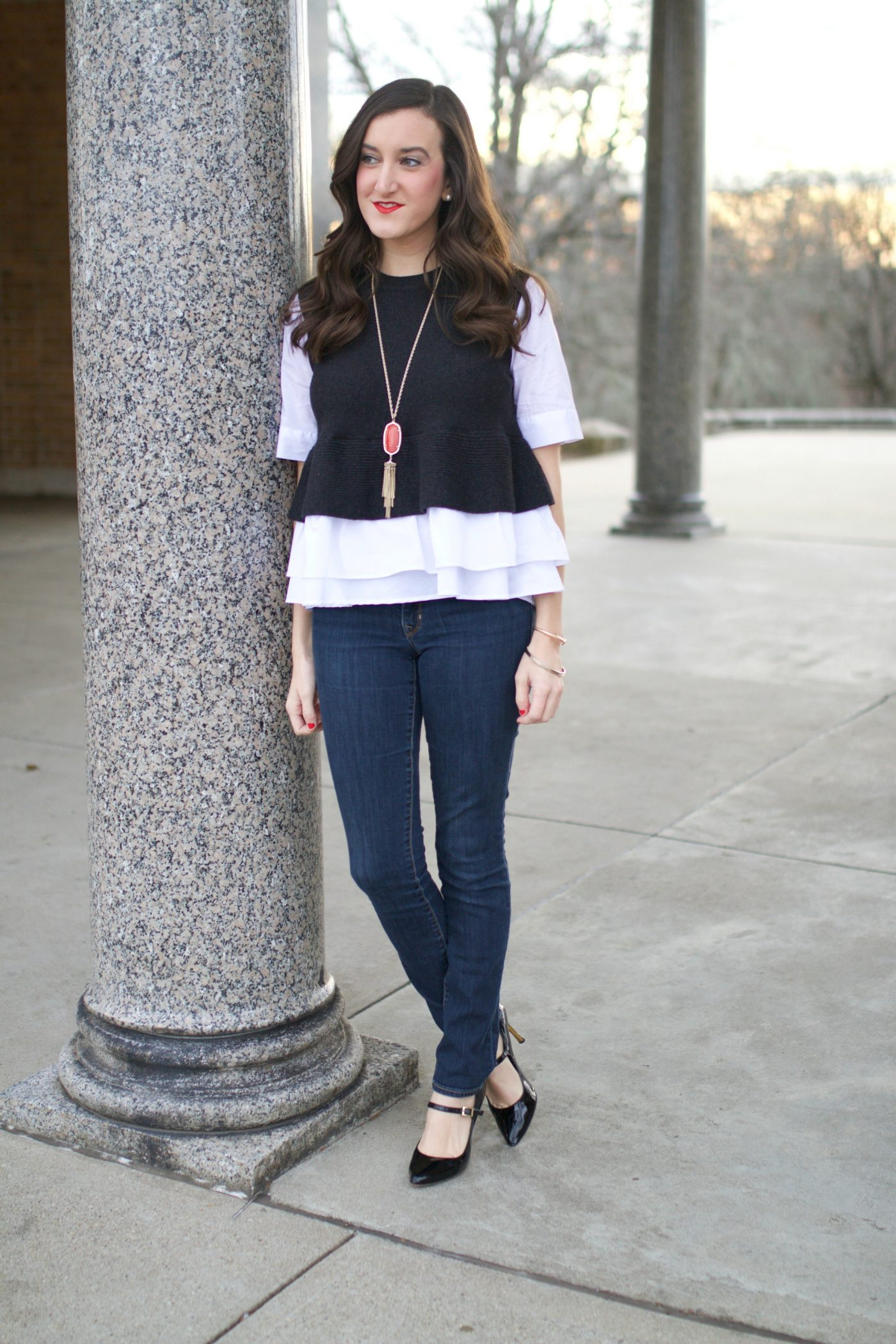 Ruffled Top with Skinny Jeans