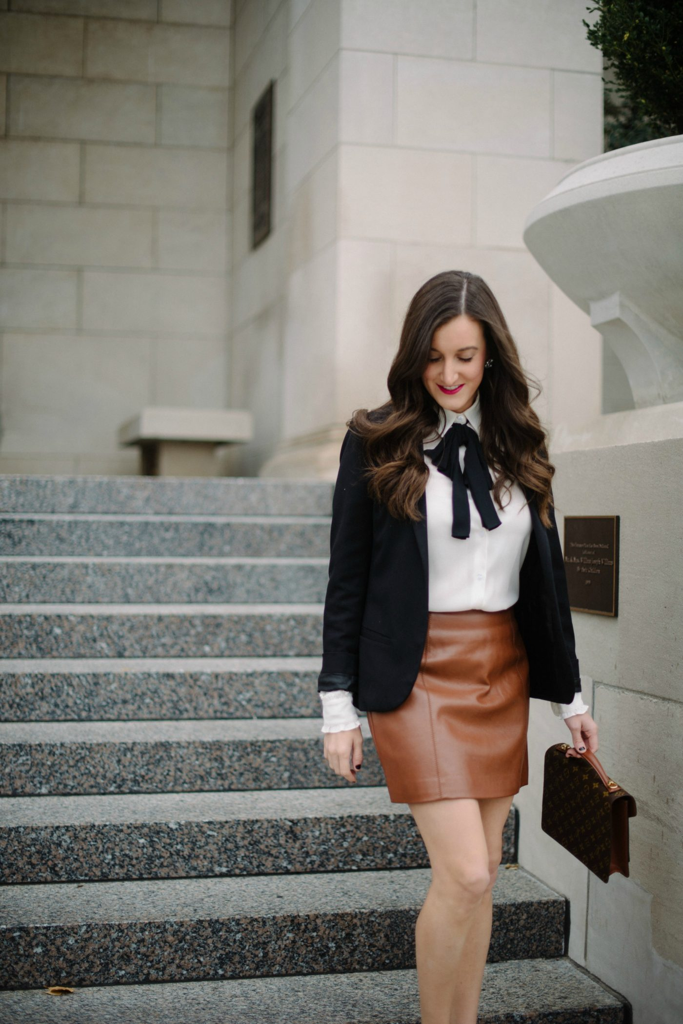 feminine outfit with bow blouse