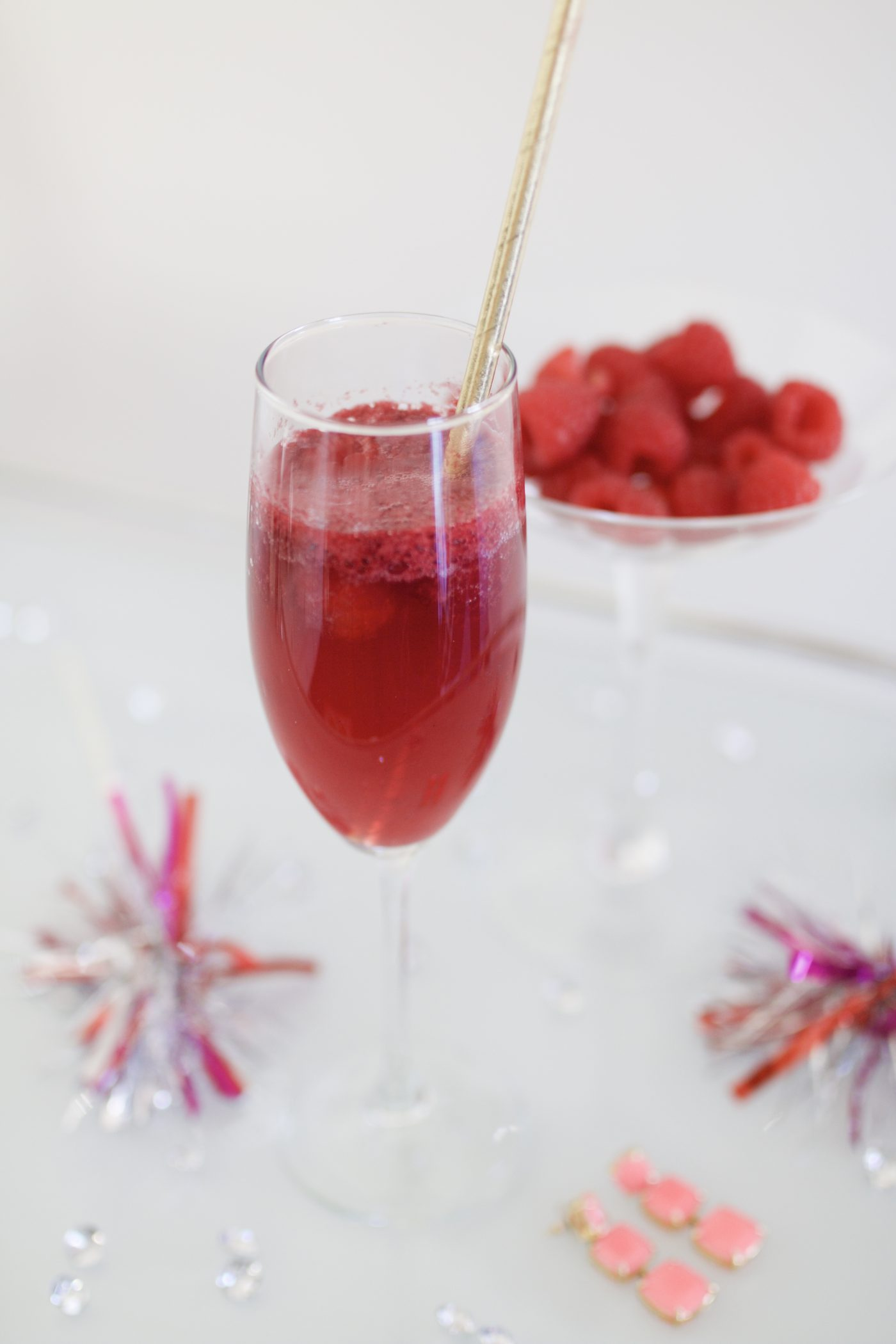 pink champagne raspberry float