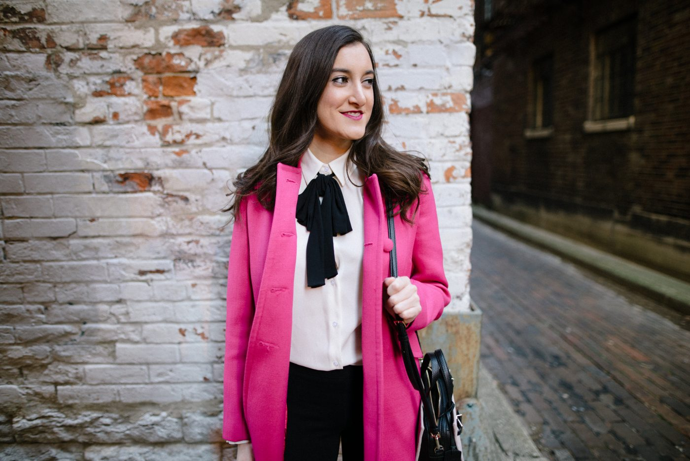 Bow Blouse with Pink Coat