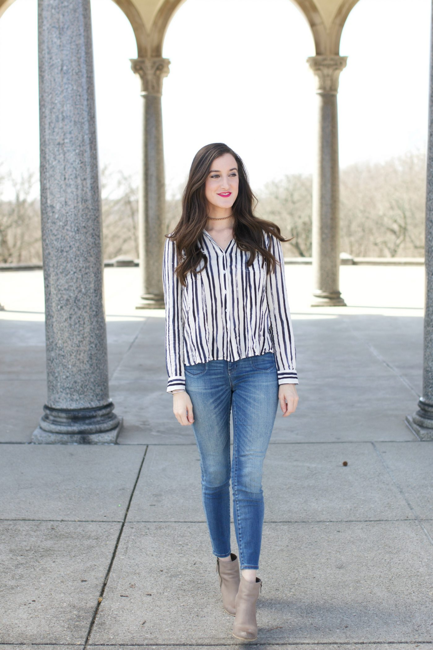 Skinny Jeans with Striped Shirt