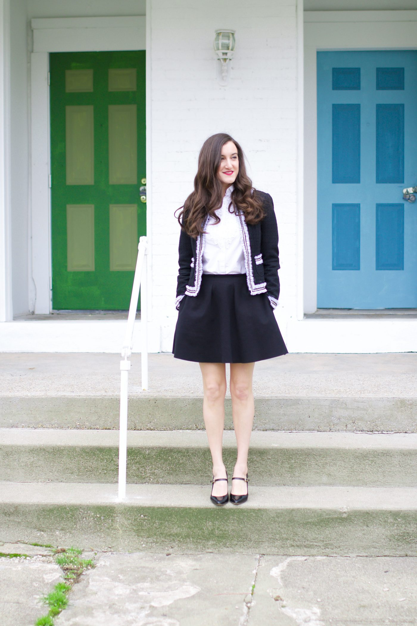 Black Skirt with Tweed Jacket