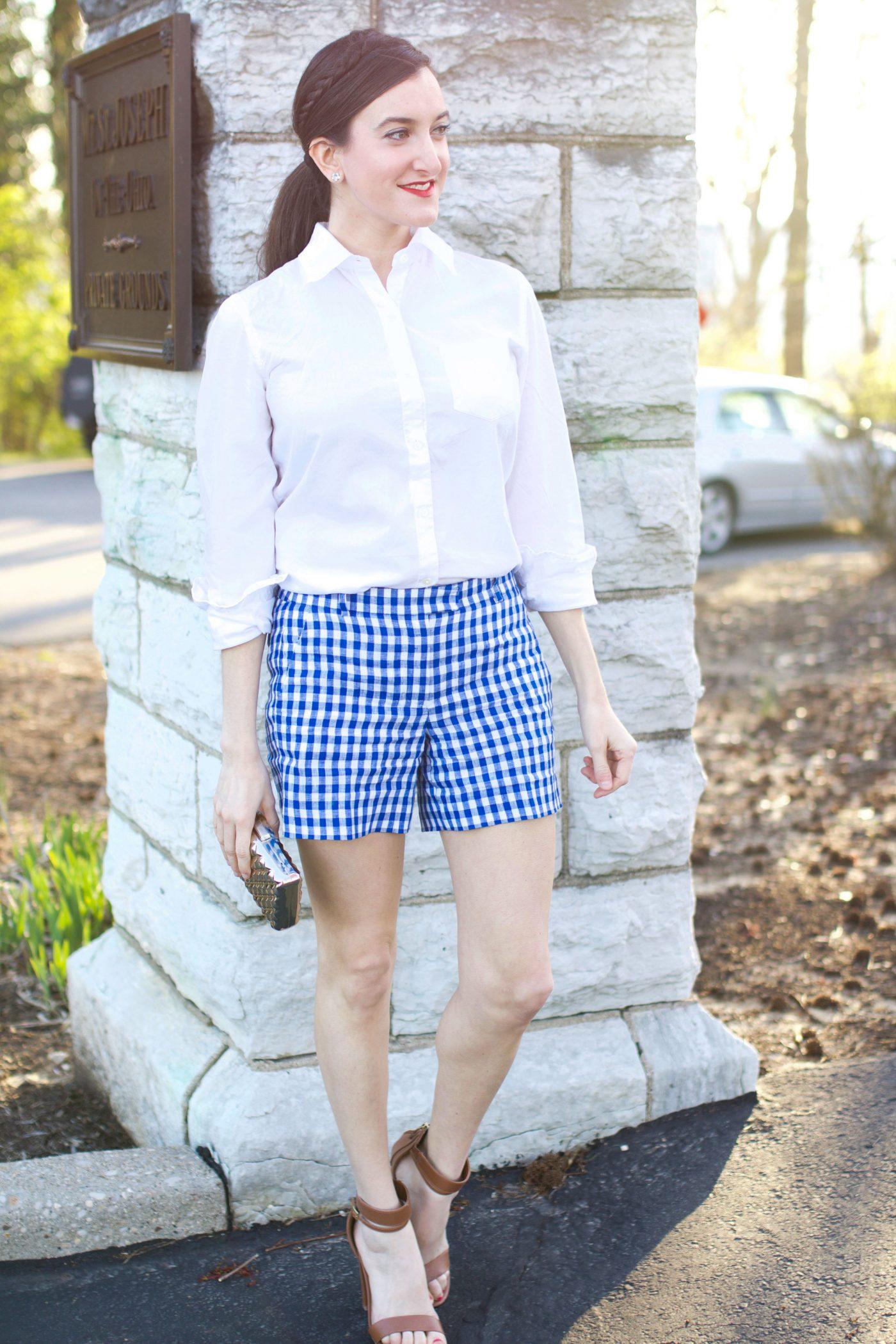 Checkered Shorts White Blouse