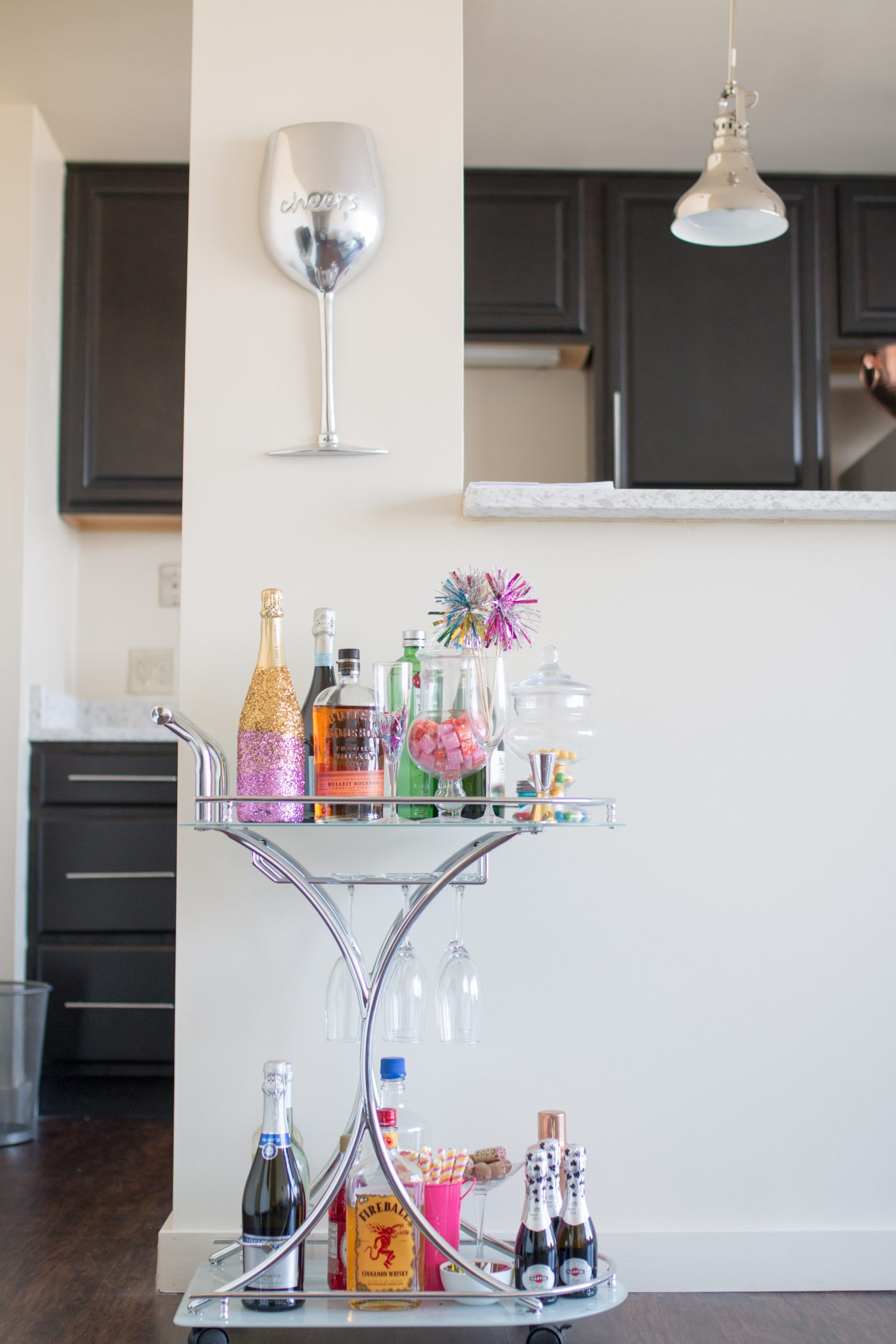 DIY Glitter Ombré Champagne Bottle & Colorful Bar Cart