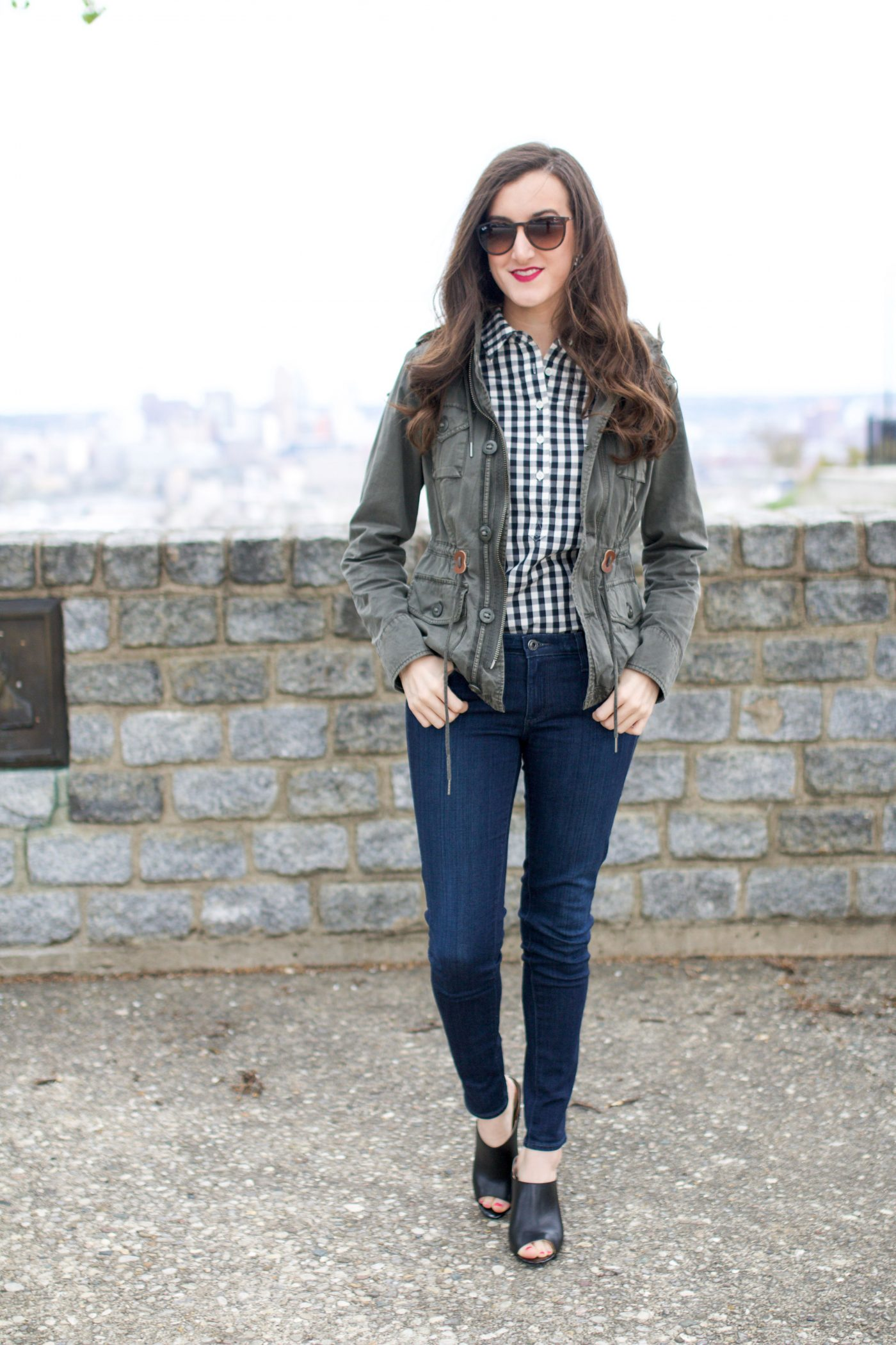 Gingham Shirt with Anorak Jacket - casual outfit ideas