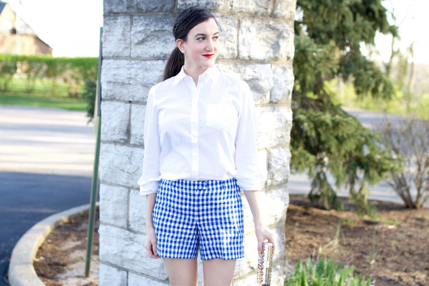 Blue and White Gingham Shorts